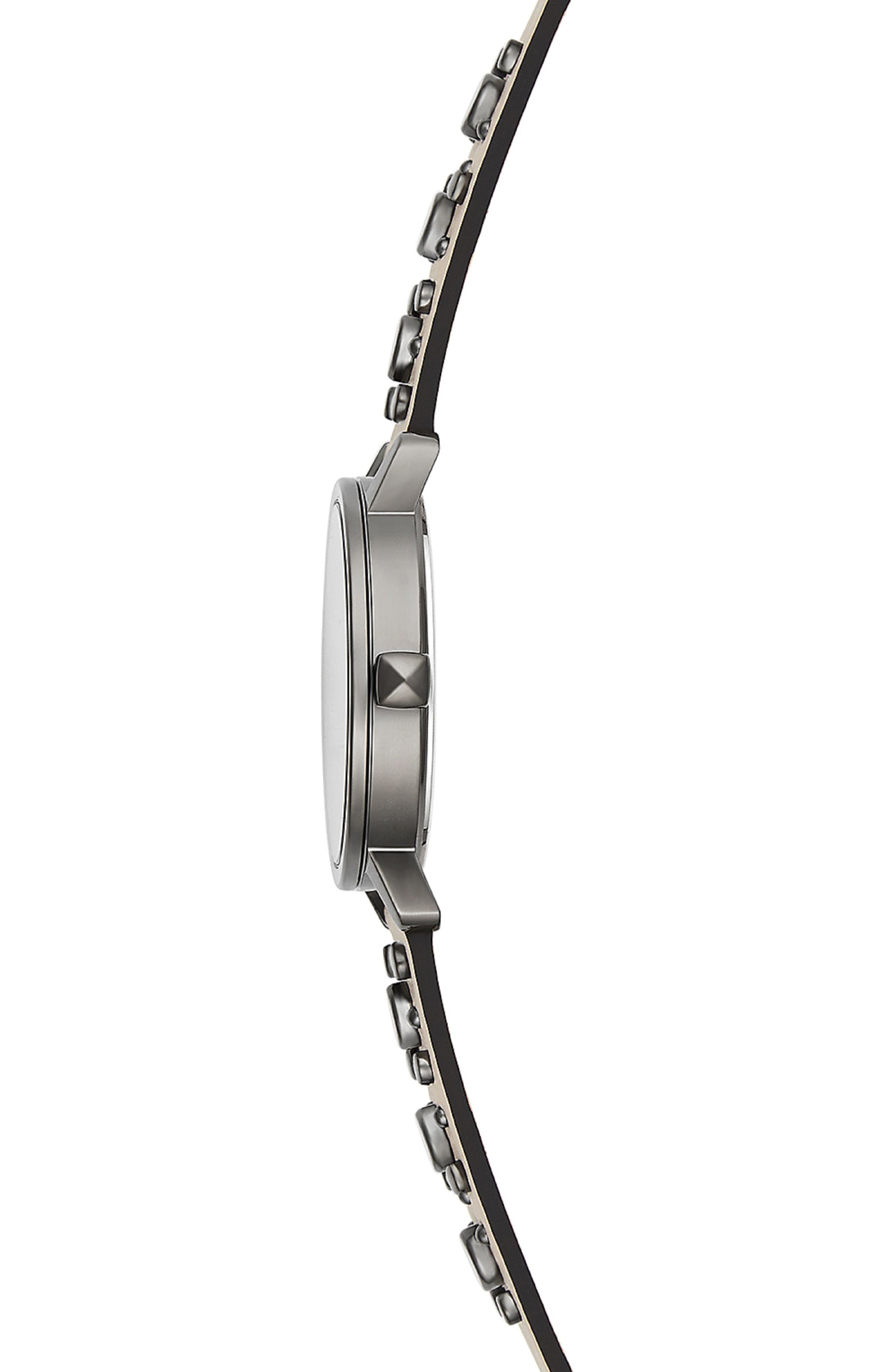 BFFL Studded Leather Strap Watch, 36mm,                             Alternate thumbnail 3, color,                             Blush/ Silver White/ Grey