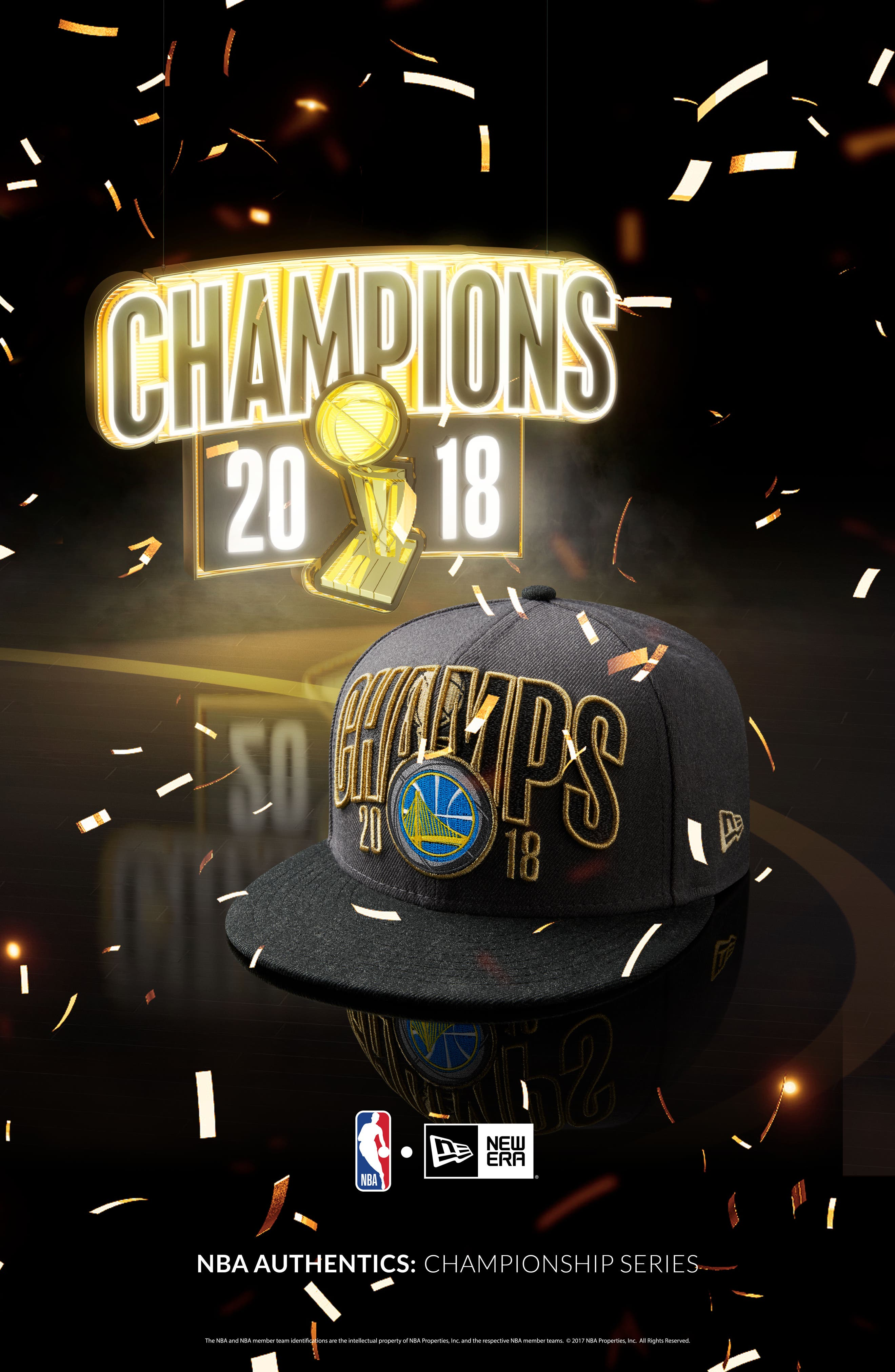 2018 NBA Champions - Golden State Warriors 9Fifty Snapback Cap,                             Alternate thumbnail 6, color,                             Golden State Warriors