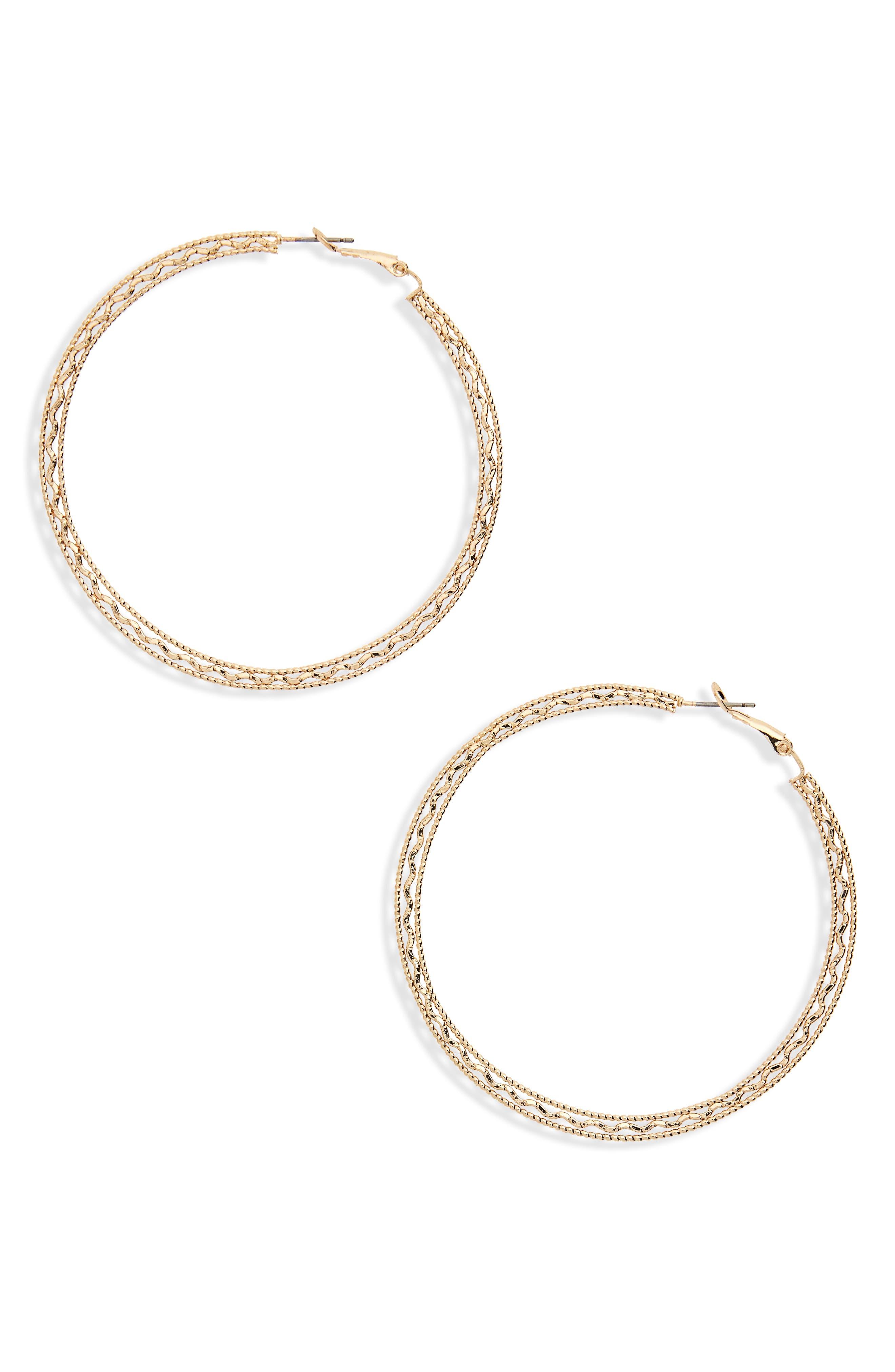 Flat Detail Hoop Earrings,                         Main,                         color, Gold