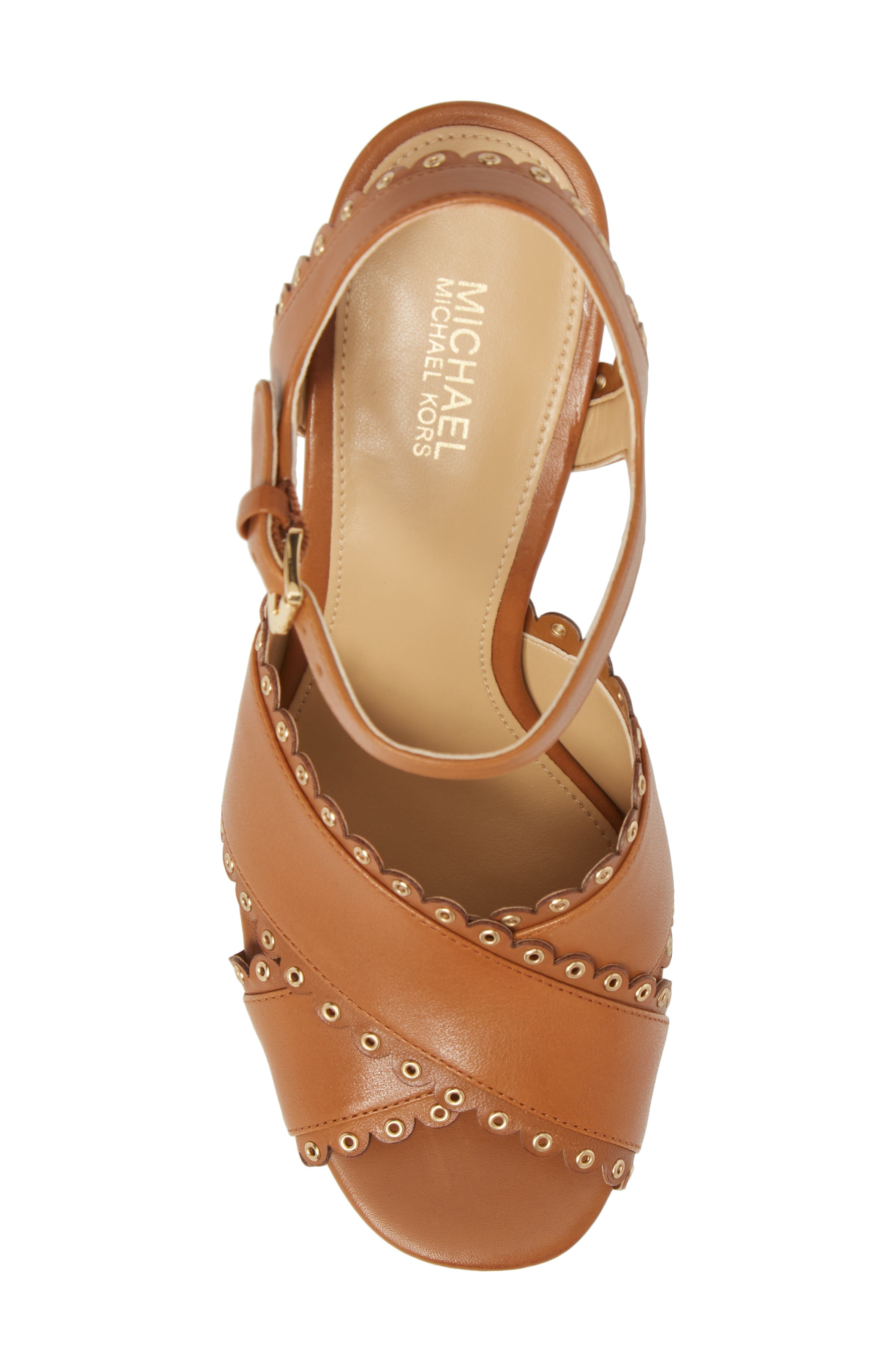 Jessie Platform Sandal,                             Alternate thumbnail 5, color,                             Acorn Leather