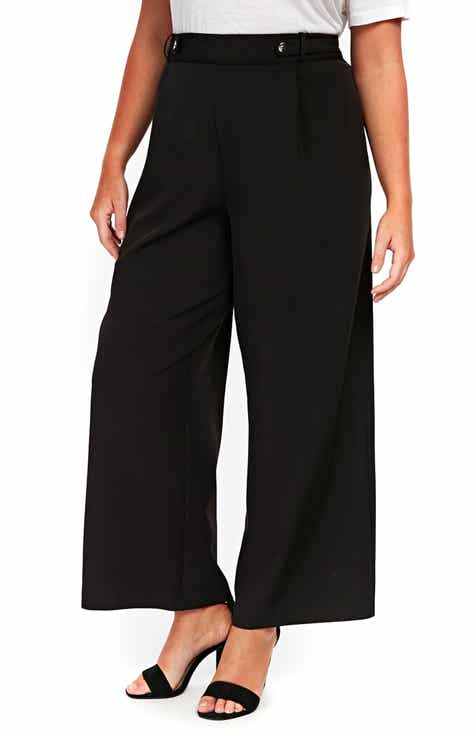 Evans Black Wide Leg Trousers (Plus Size)