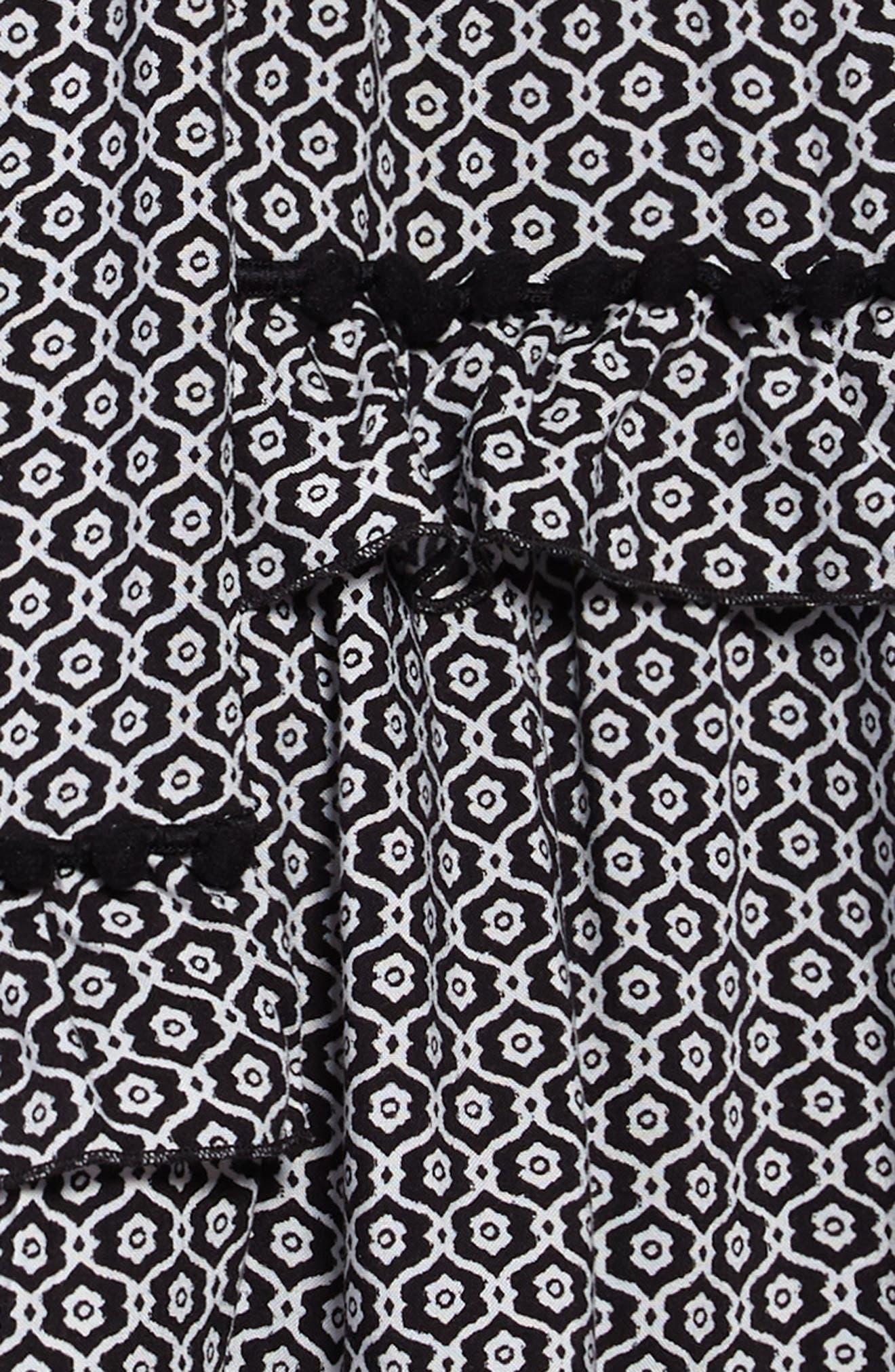 Print Dress,                             Alternate thumbnail 3, color,                             Black- Ivory Geo