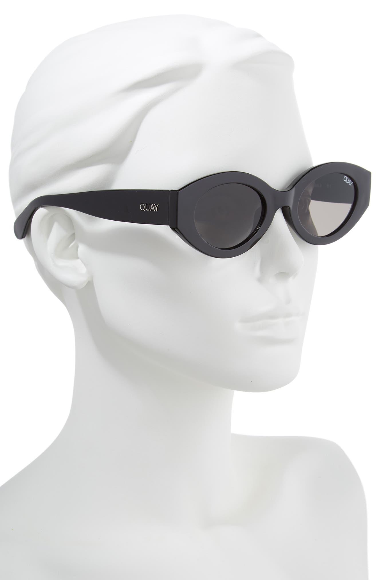 See Me Smile 50mm Cat Eye Sunglasses,                             Alternate thumbnail 3, color,                             Black/ Smoke
