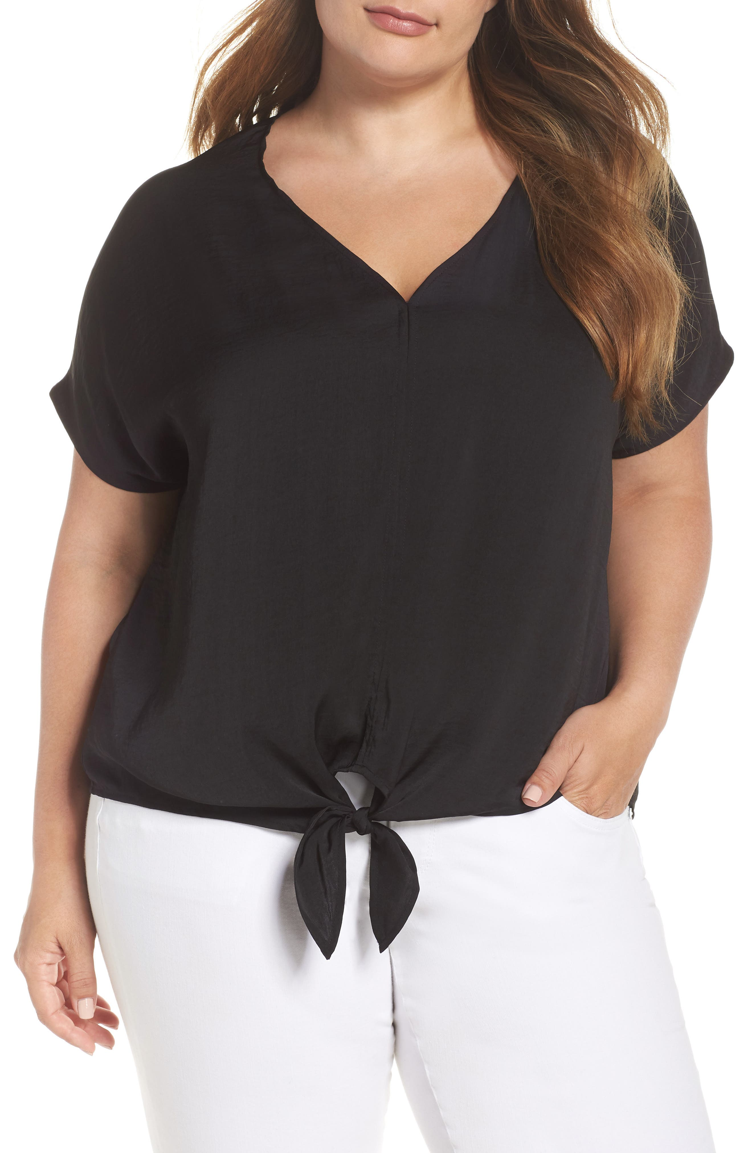 Tie Front Satin Top,                             Main thumbnail 1, color,                             Lucky Black