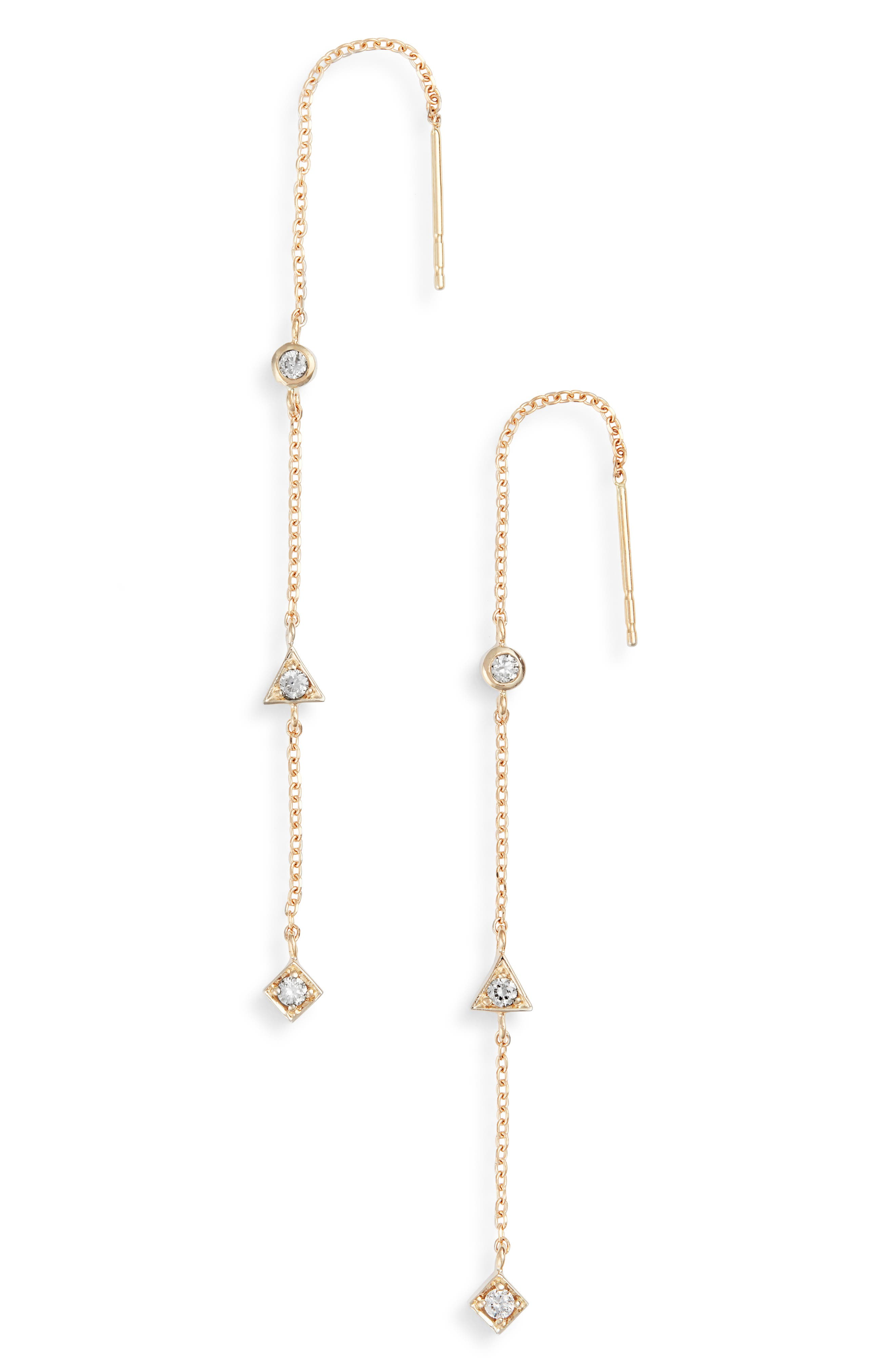 Cleo Diamond Linear Earrings,                         Main,                         color, Gold