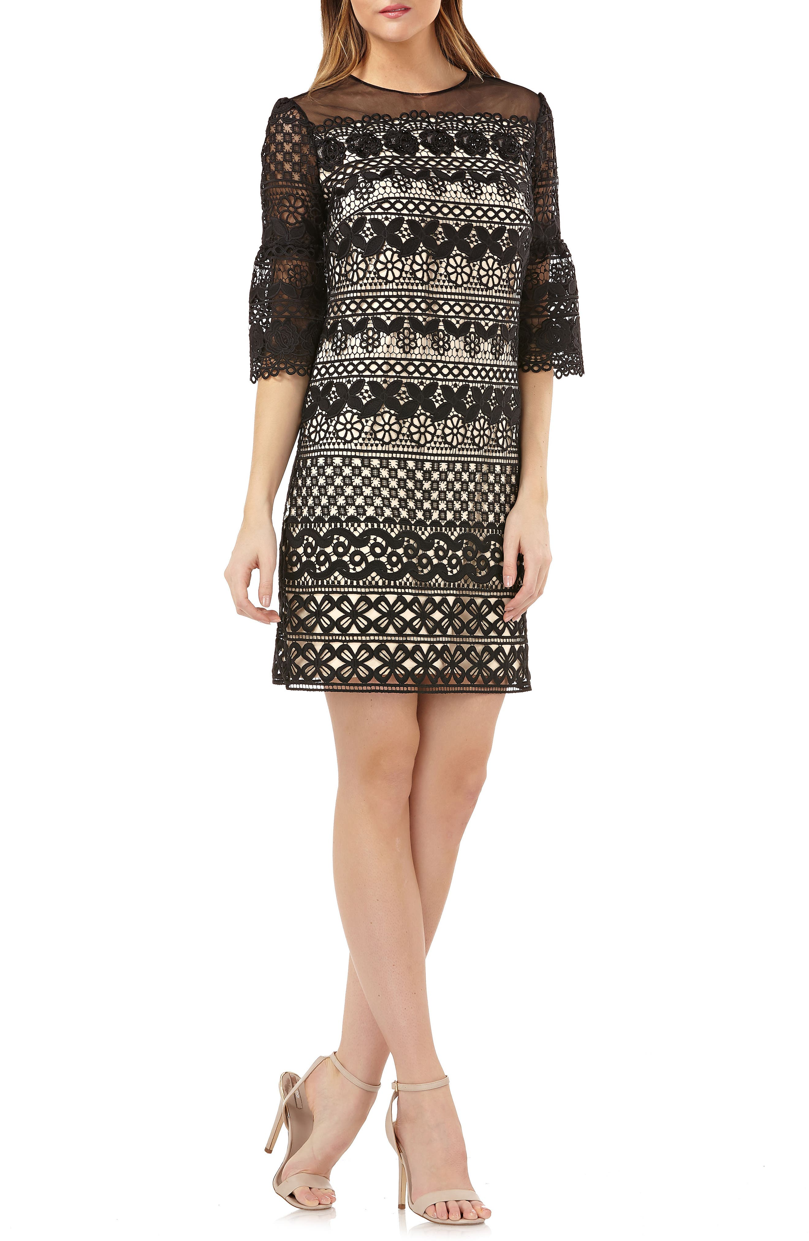 Carmen Marc Valvo Lace Shift Dress,                             Main thumbnail 1, color,                             Black Nude