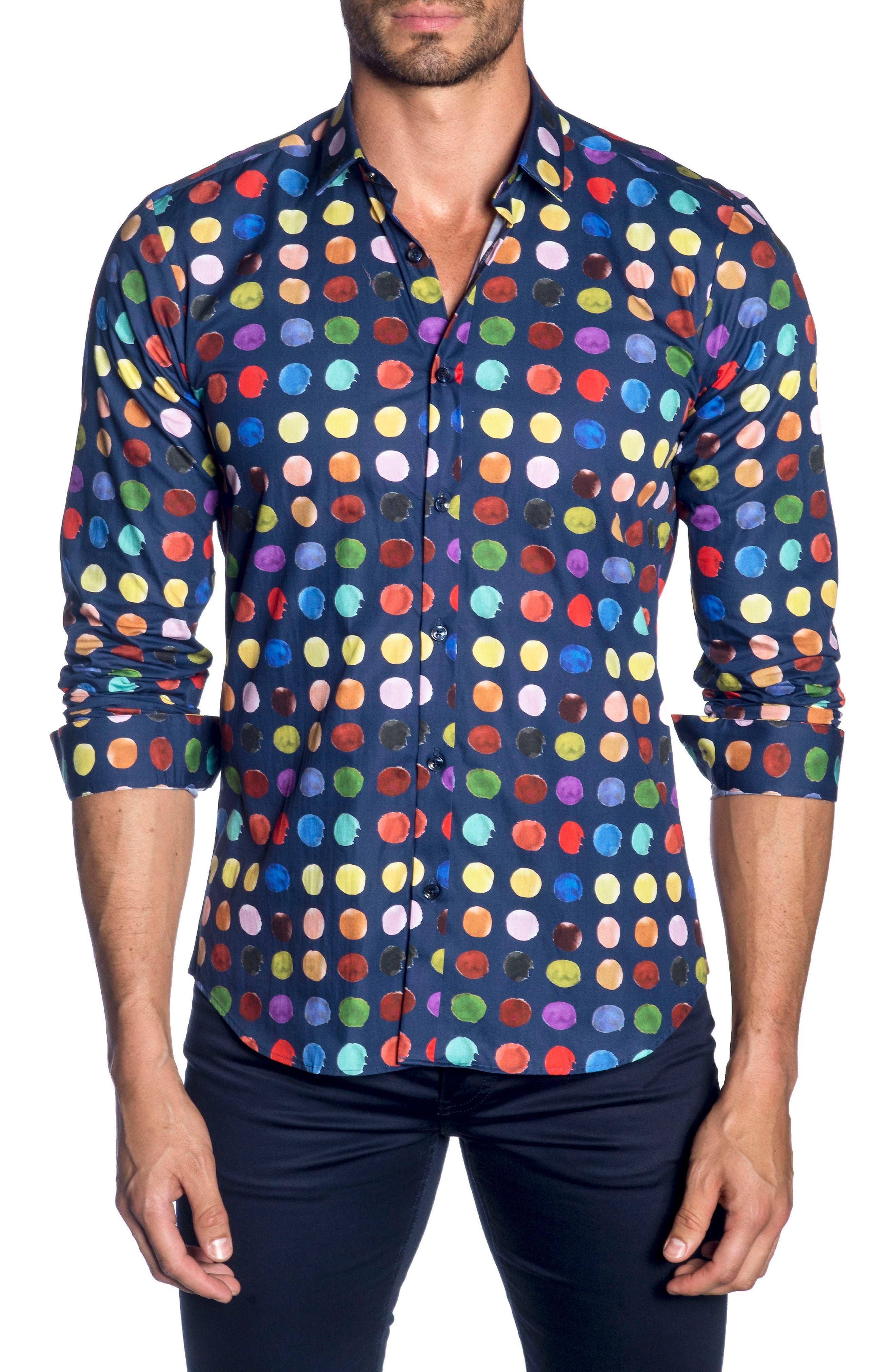 Trim Fit Sport Shirt,                         Main,                         color, Navy Print