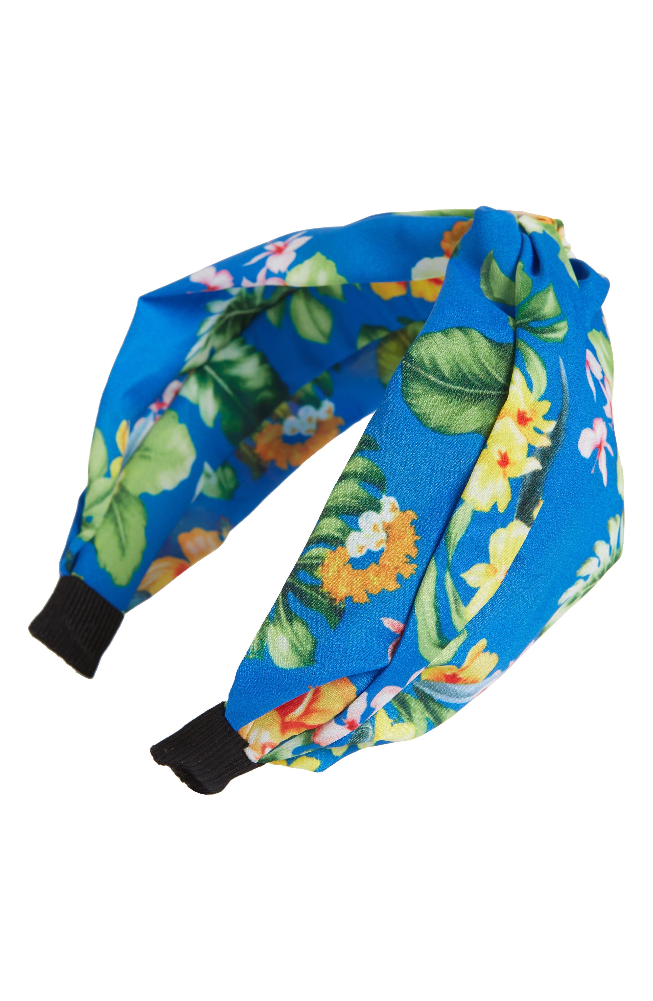 Floral Print Headband,                         Main,                         color, Navy