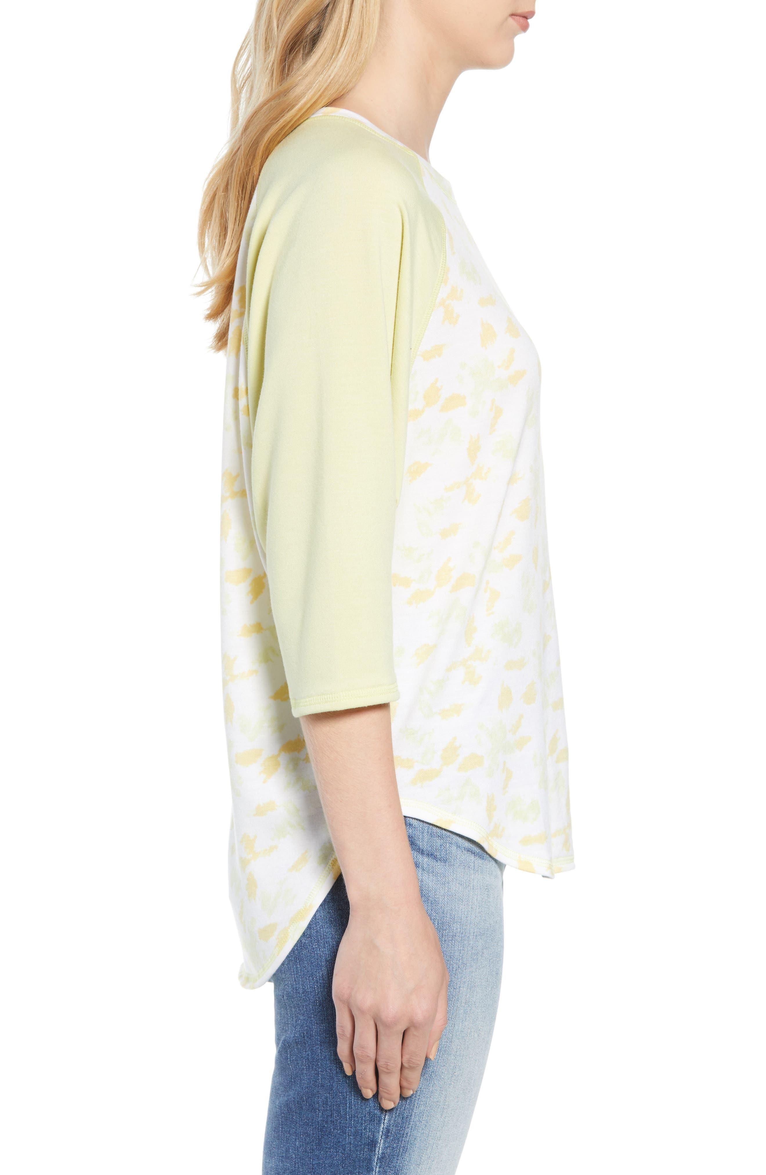 Off Duty Raglan Sleeve Sweatshirt,                             Alternate thumbnail 3, color,                             Ivory- Yellow Fleurs De Laine