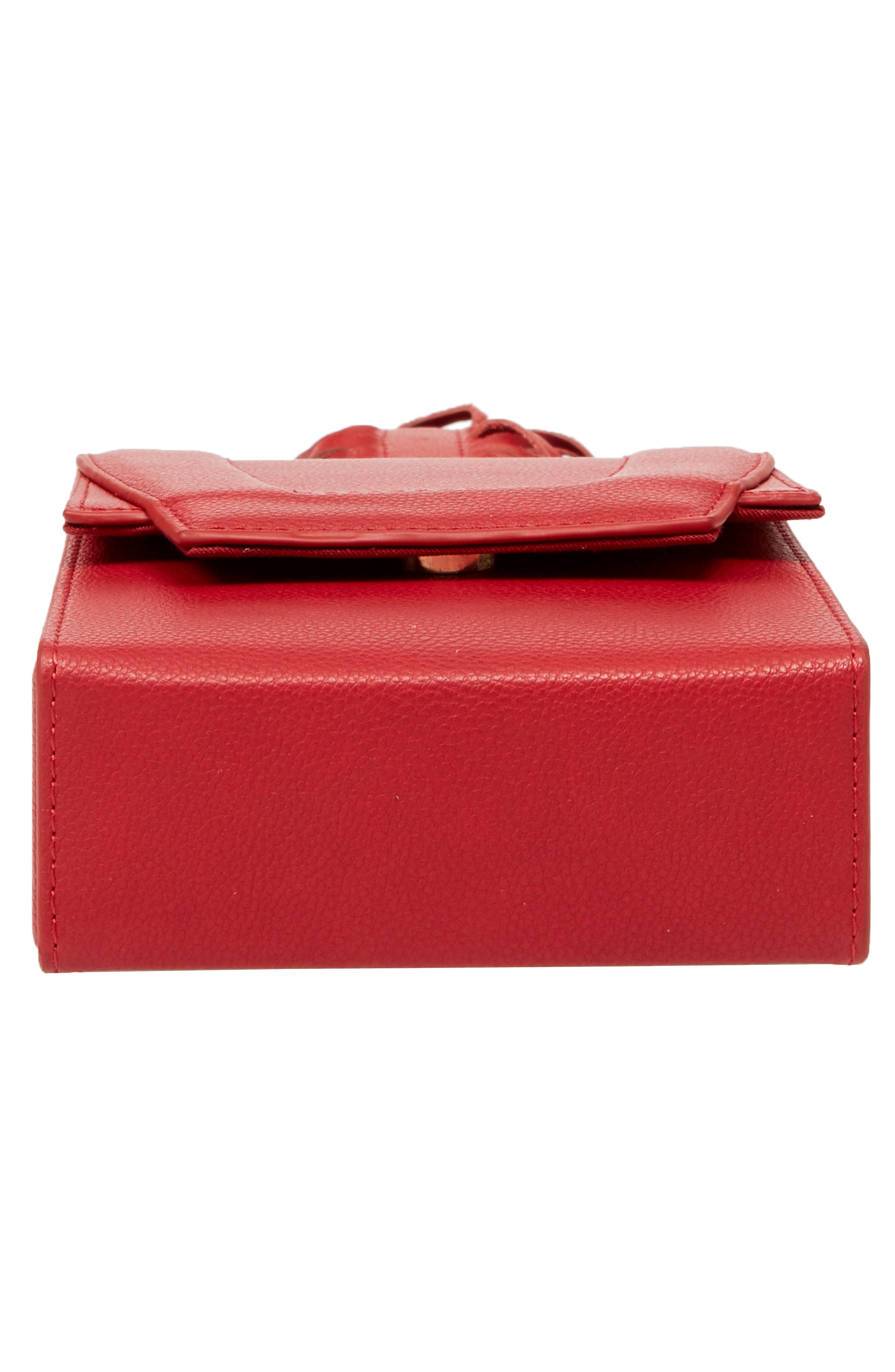 Alivia Leather Clutch,                             Alternate thumbnail 4, color,                             Red