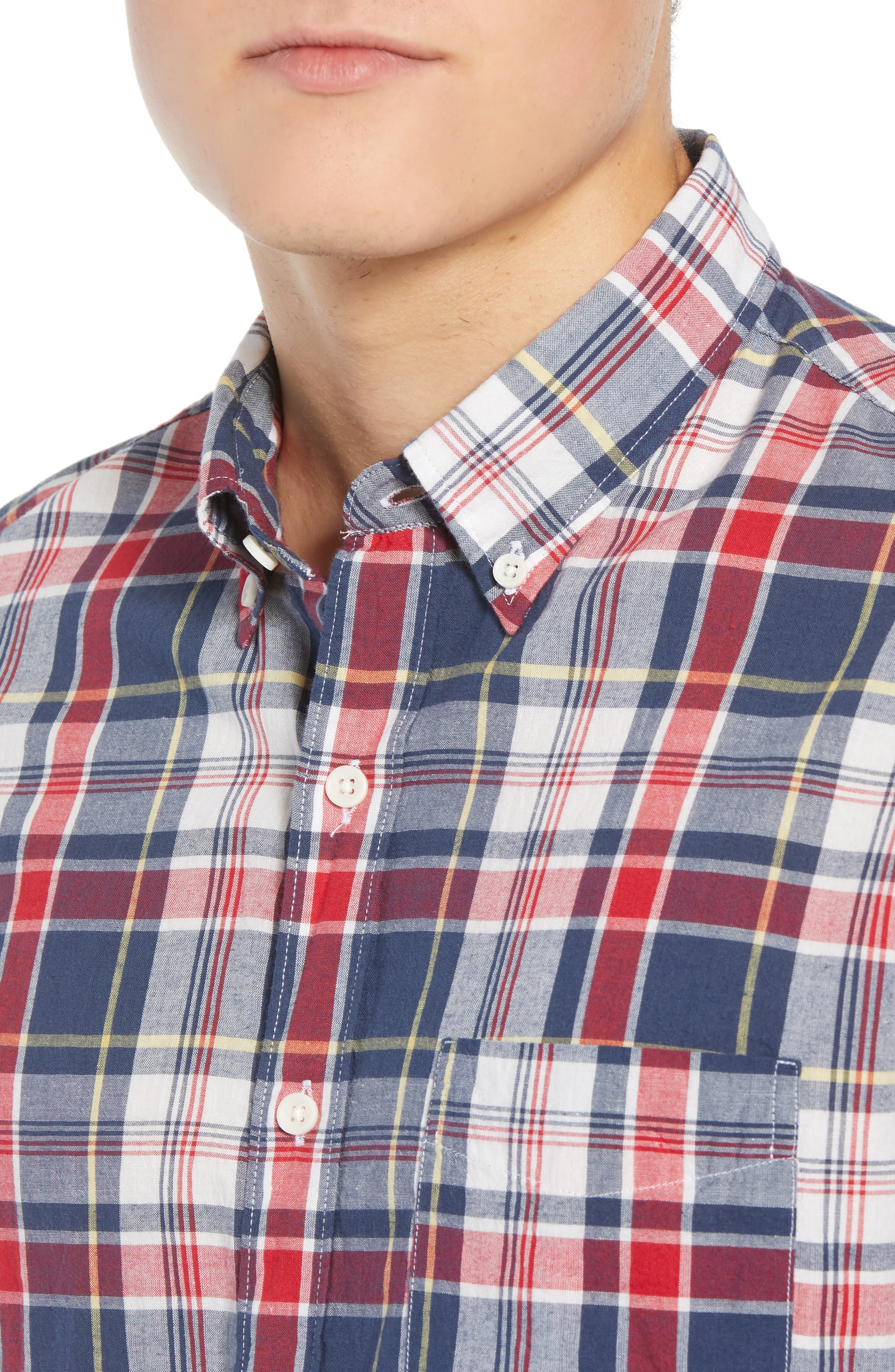 Regular Fit Madras Plaid Sport Shirt,                             Alternate thumbnail 2, color,                             Navy Ink