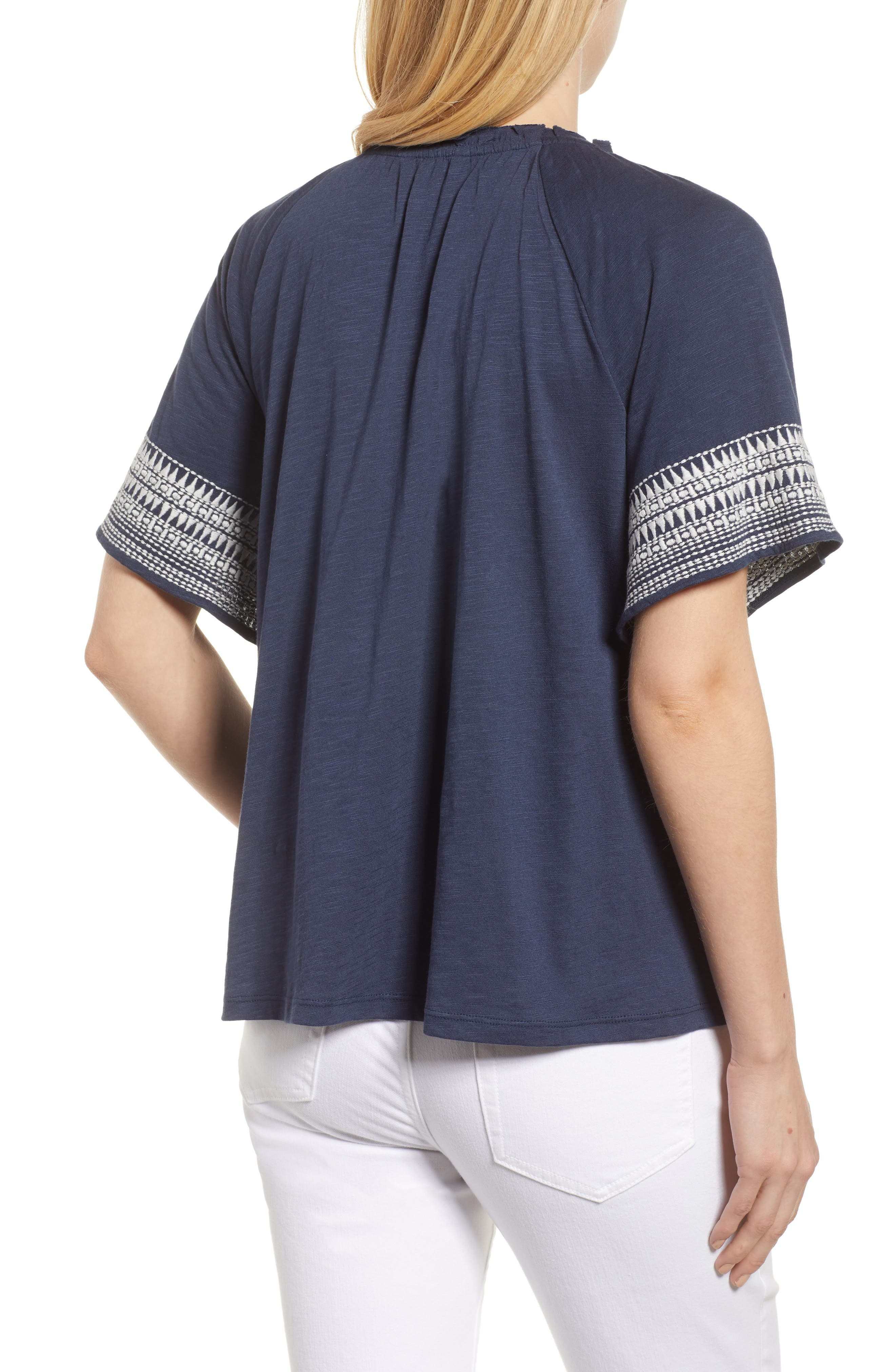 Embroidered Border Peasant Top,                             Alternate thumbnail 4, color,                             Navy- Ivory Dita