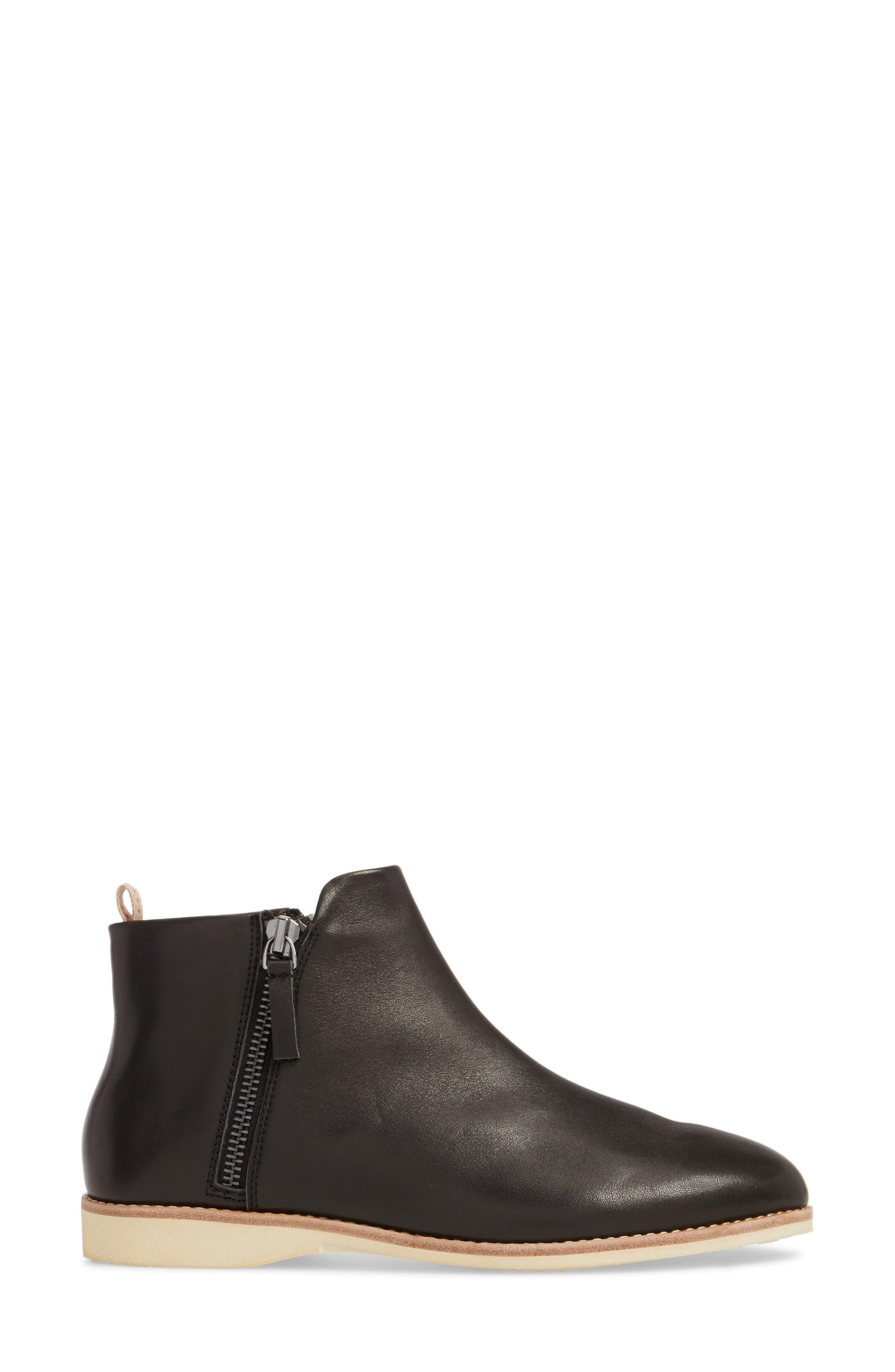 Double Zip Bootie,                             Alternate thumbnail 5, color,                             Black Leather