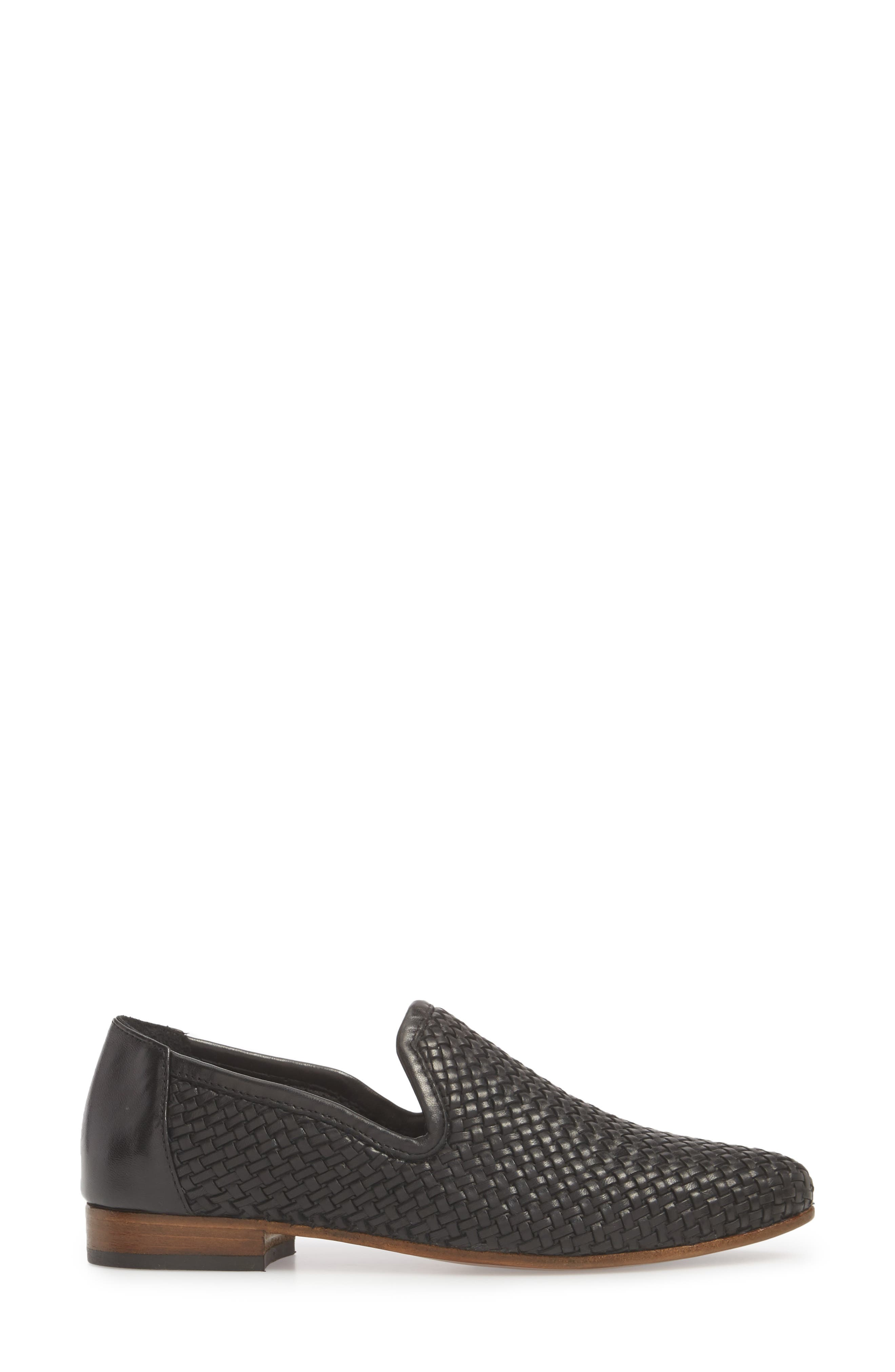 Yara Woven Slip-On Loafer,                             Alternate thumbnail 6, color,                             Onyx Leather