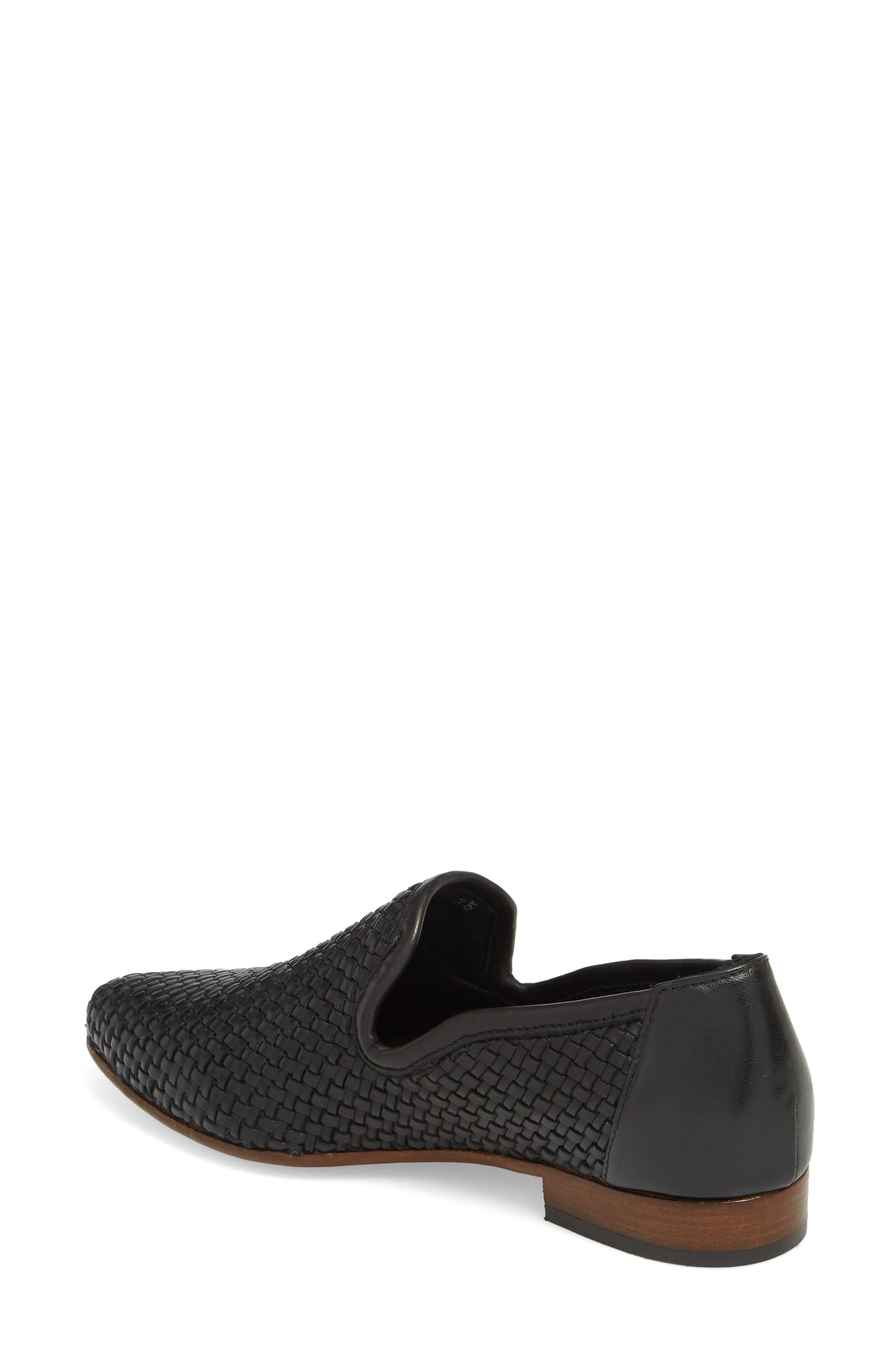 Yara Woven Slip-On Loafer,                             Alternate thumbnail 2, color,                             Onyx Leather
