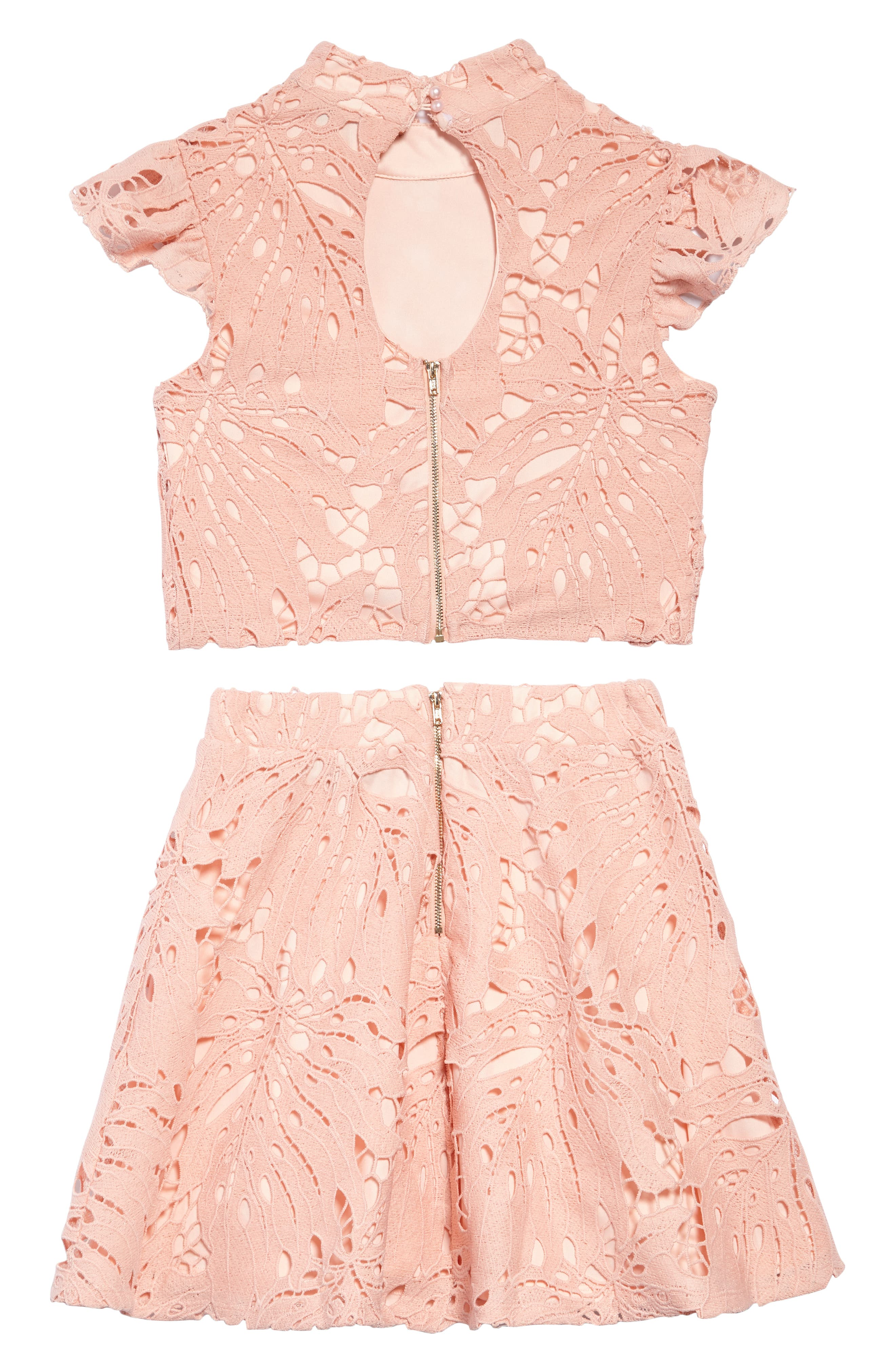 Daina Two-Piece Lace Dress,                             Alternate thumbnail 2, color,                             Peach