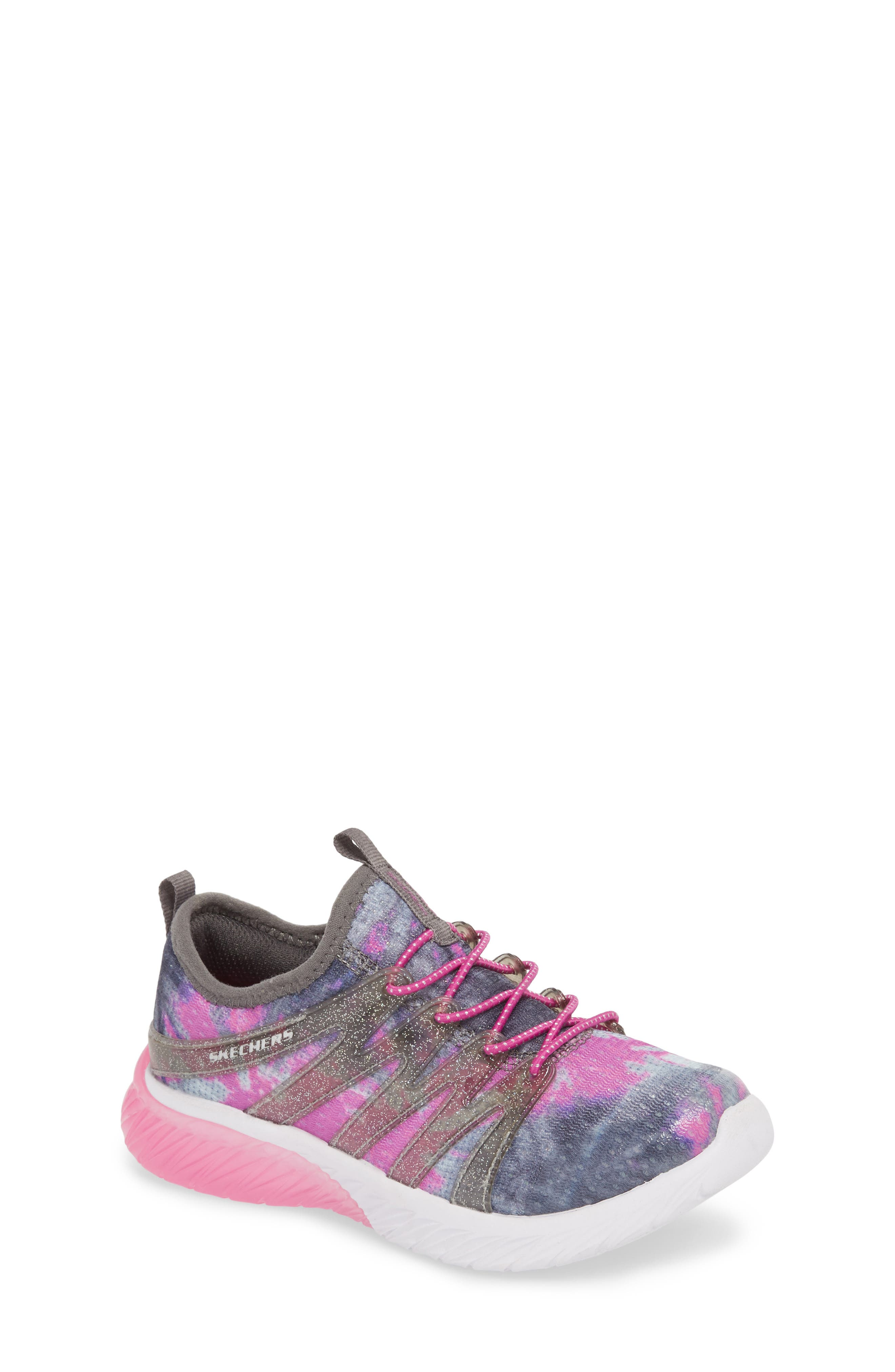 Skech Gem Glitter Sneaker,                             Main thumbnail 1, color,                             Charcoal/ Hot Pink
