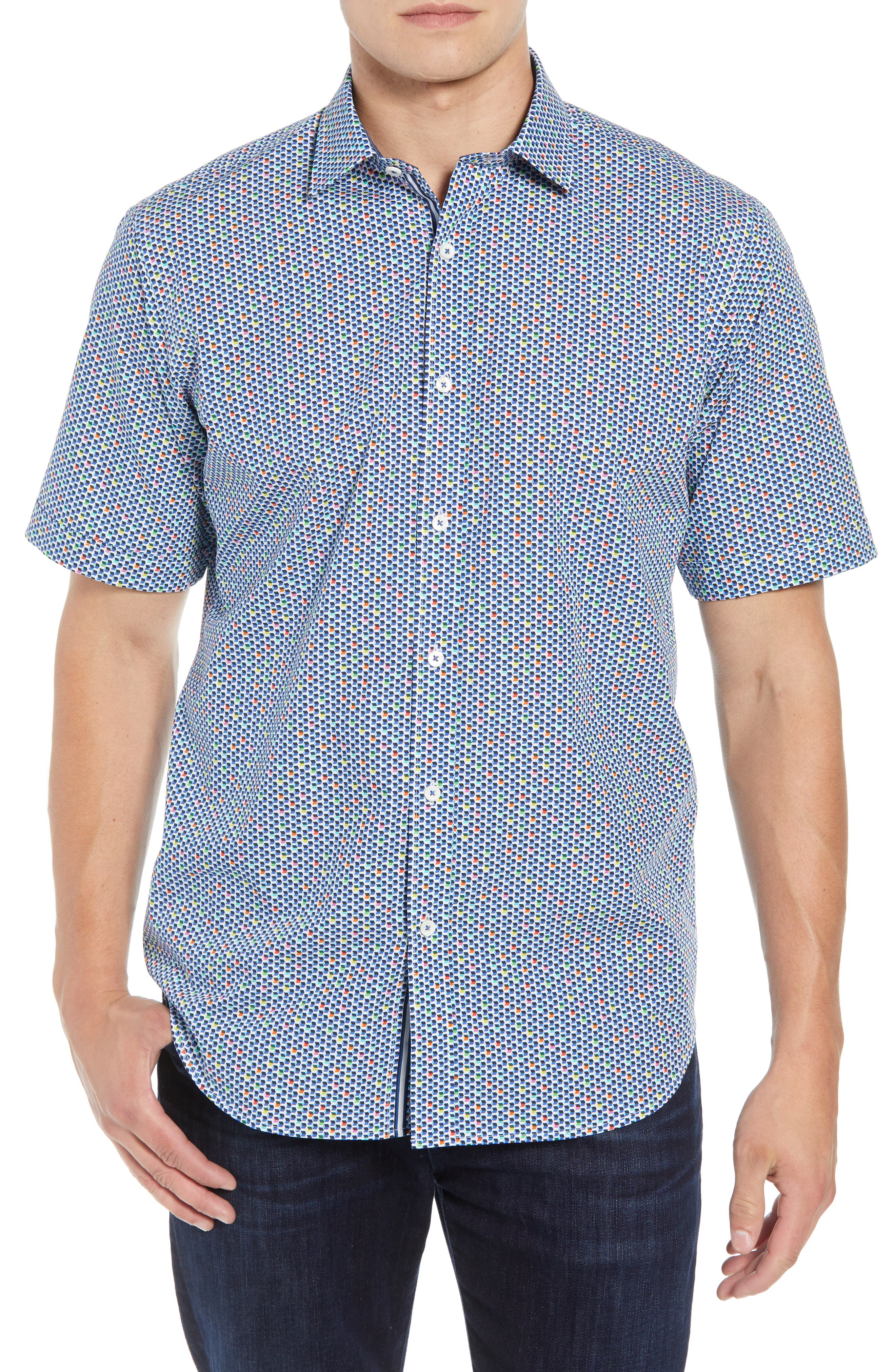 Classic Fit Print Sport Shirt,                         Main,                         color, Candy