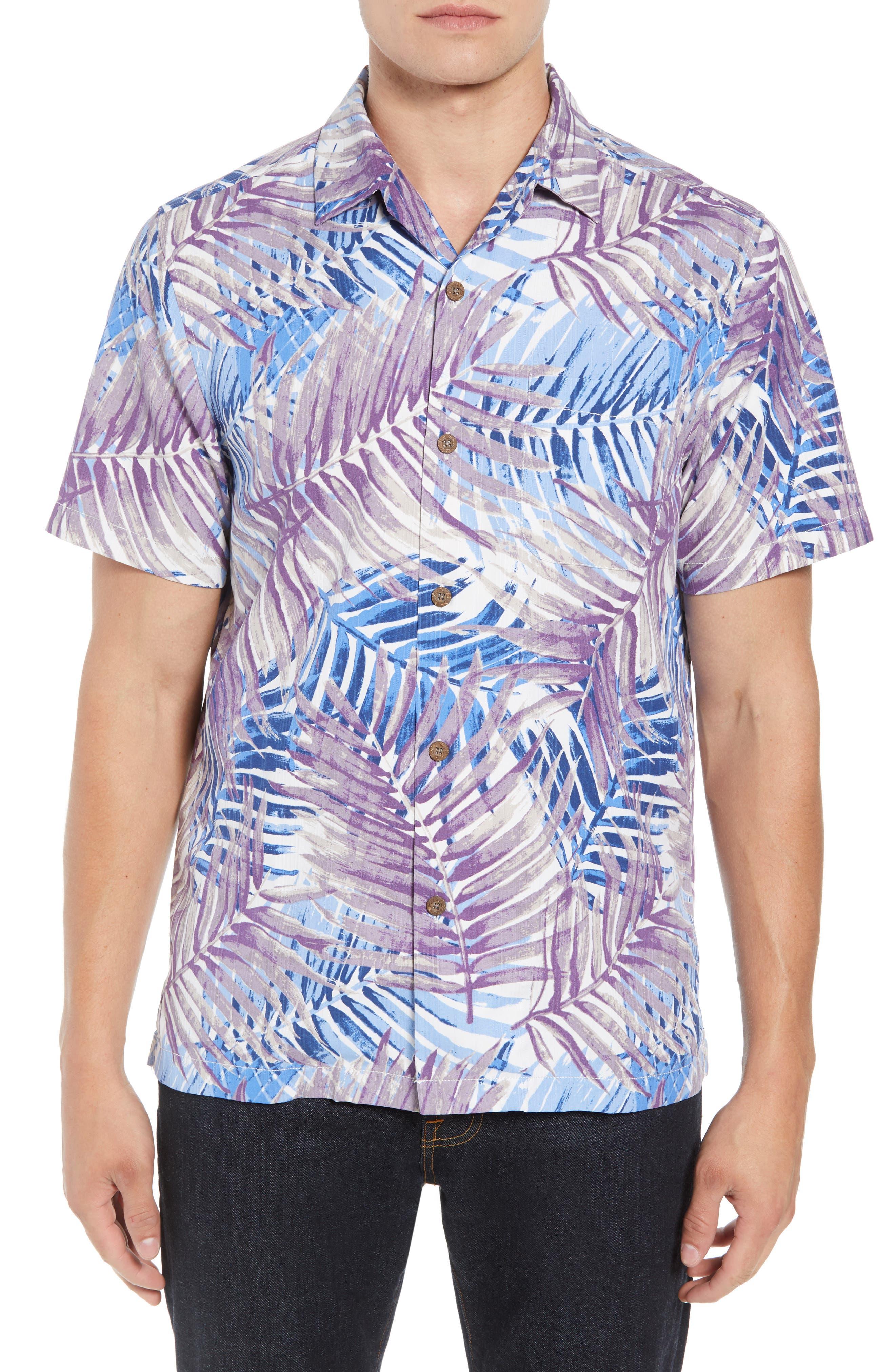 San Juan Fronds Silk Blend Camp Shirt,                         Main,                         color, Light Sky
