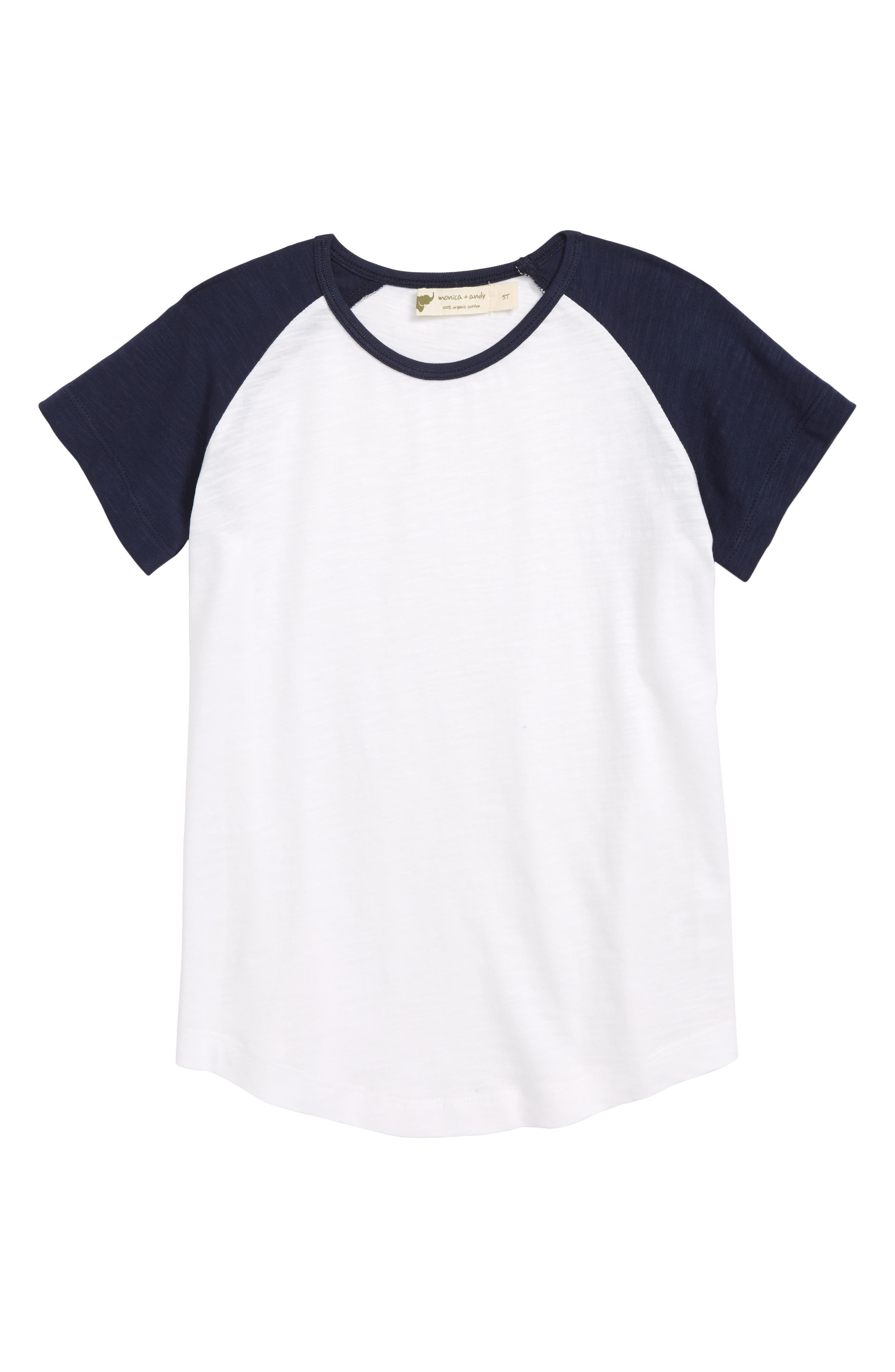 Little Slugger Organic Cotton T-Shirt,                             Main thumbnail 1, color,                             Navy/ White