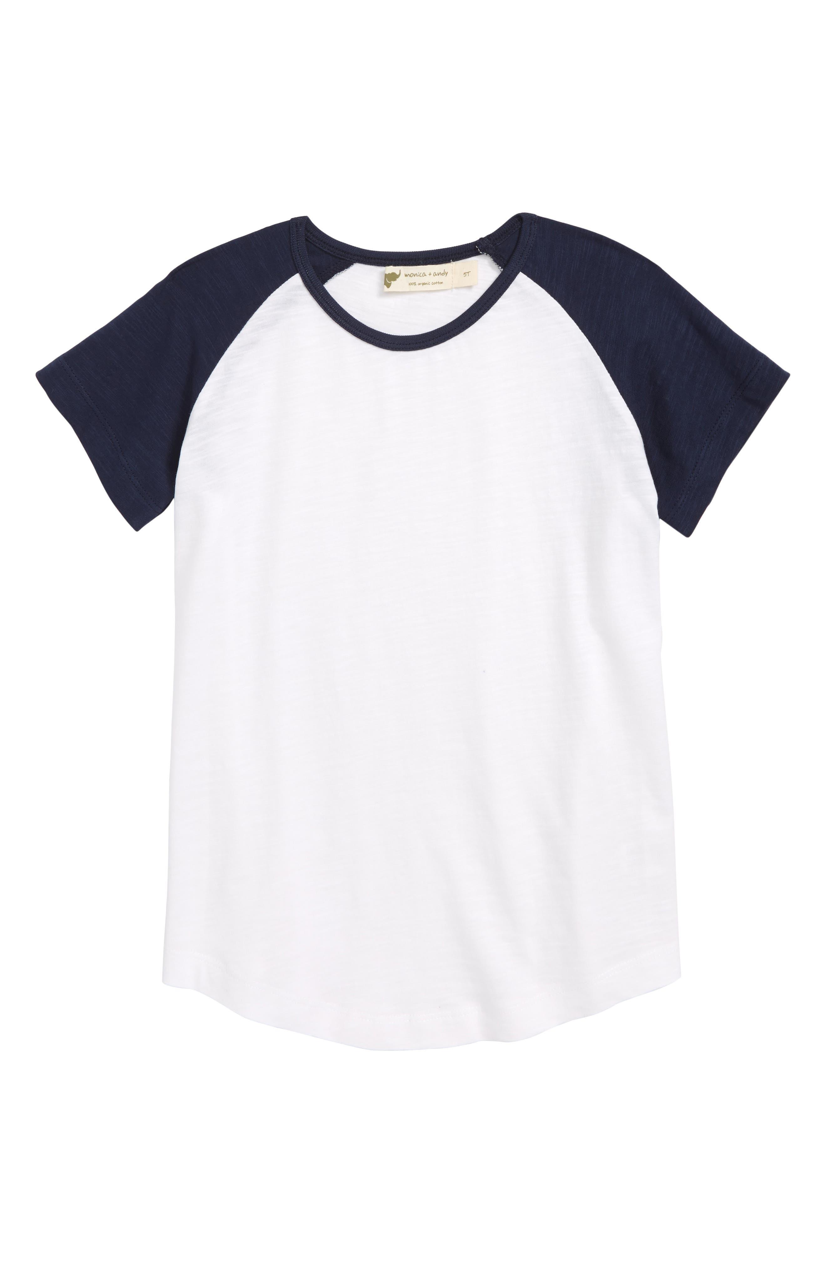 Little Slugger Organic Cotton T-Shirt,                         Main,                         color, Navy/ White