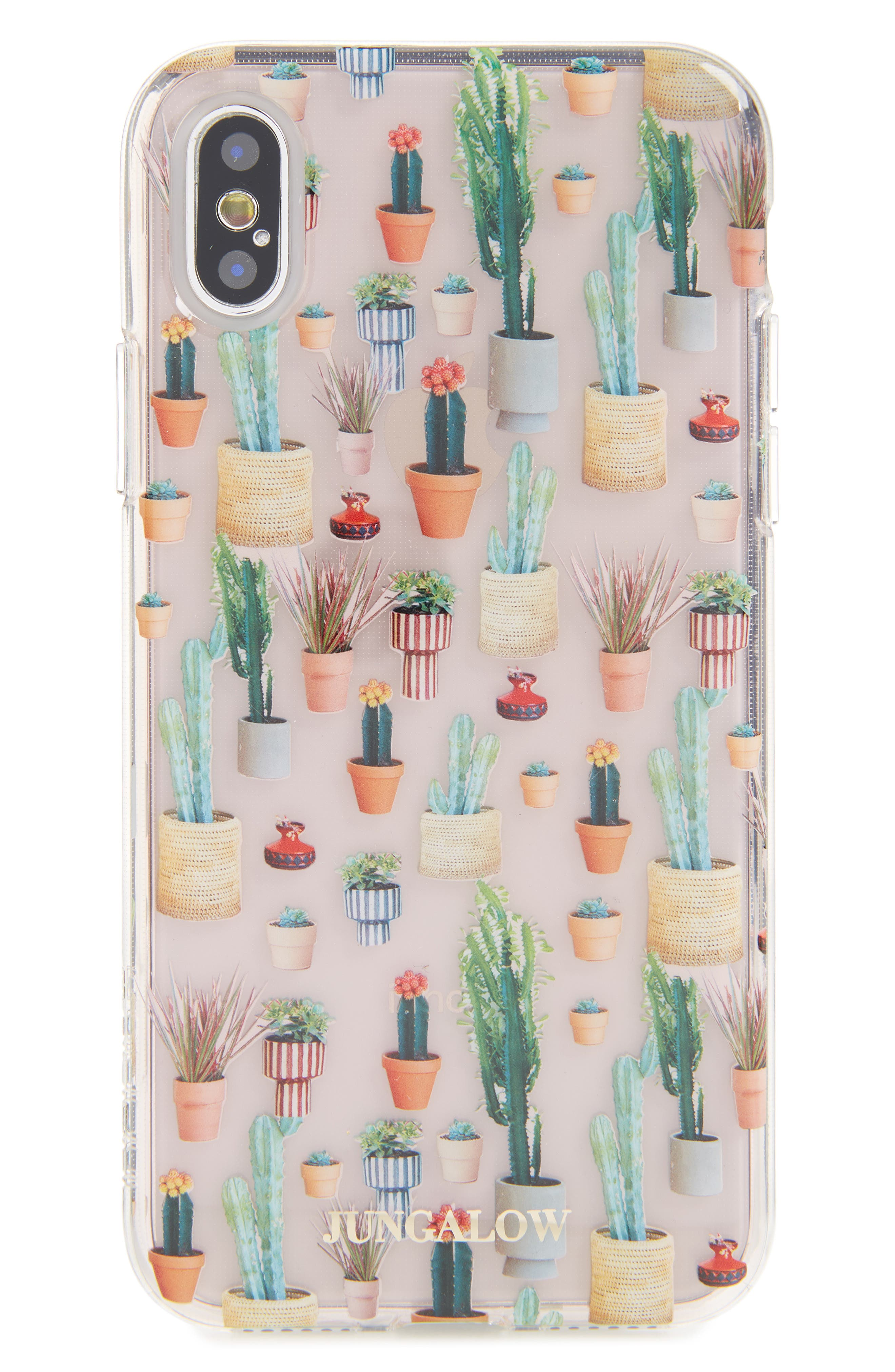 Jungalow Potted Plant iPhone X Case,                         Main,                         color, Clear Multi