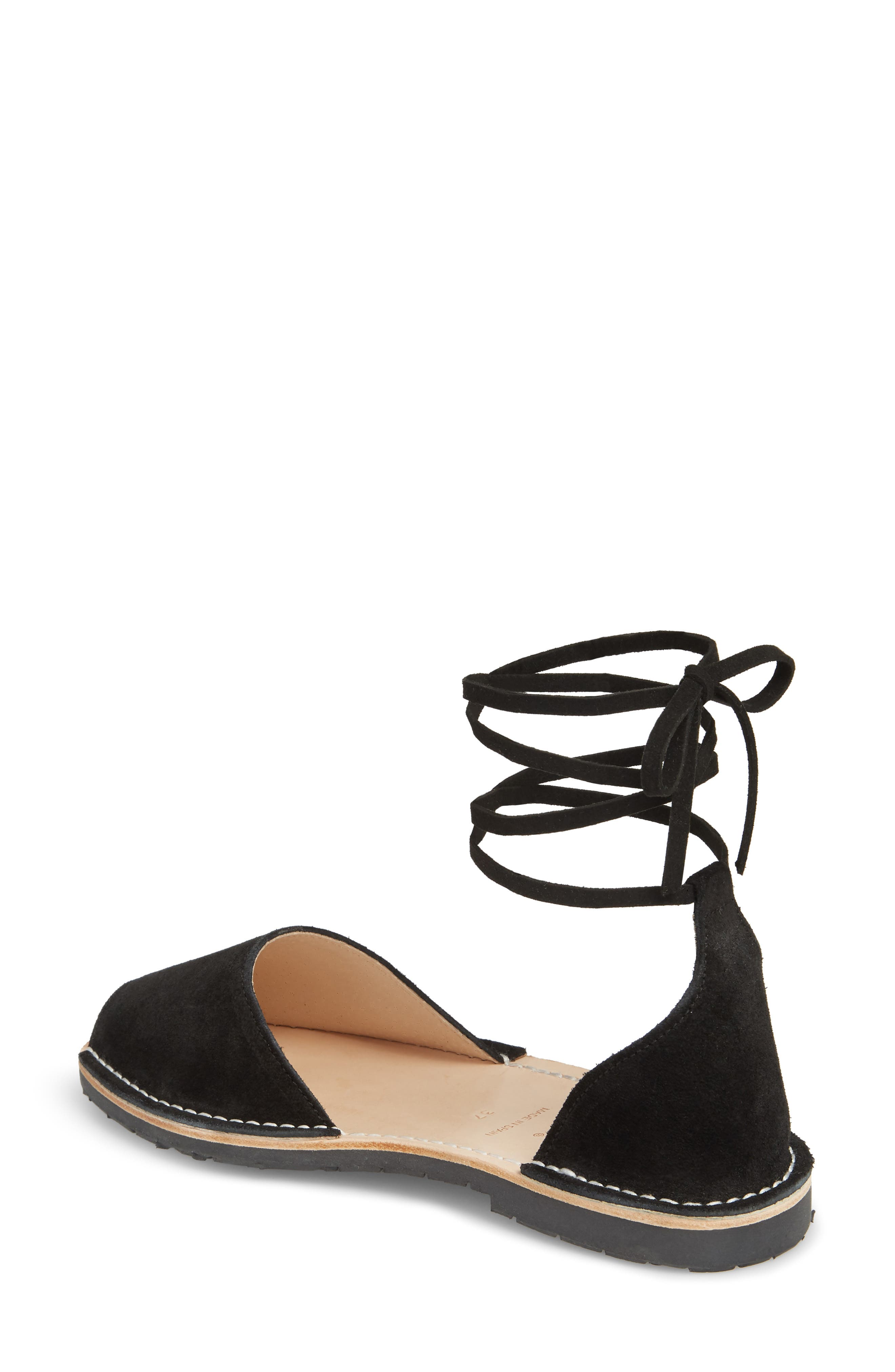 Ankle Tie Sandal,                             Alternate thumbnail 2, color,                             Black
