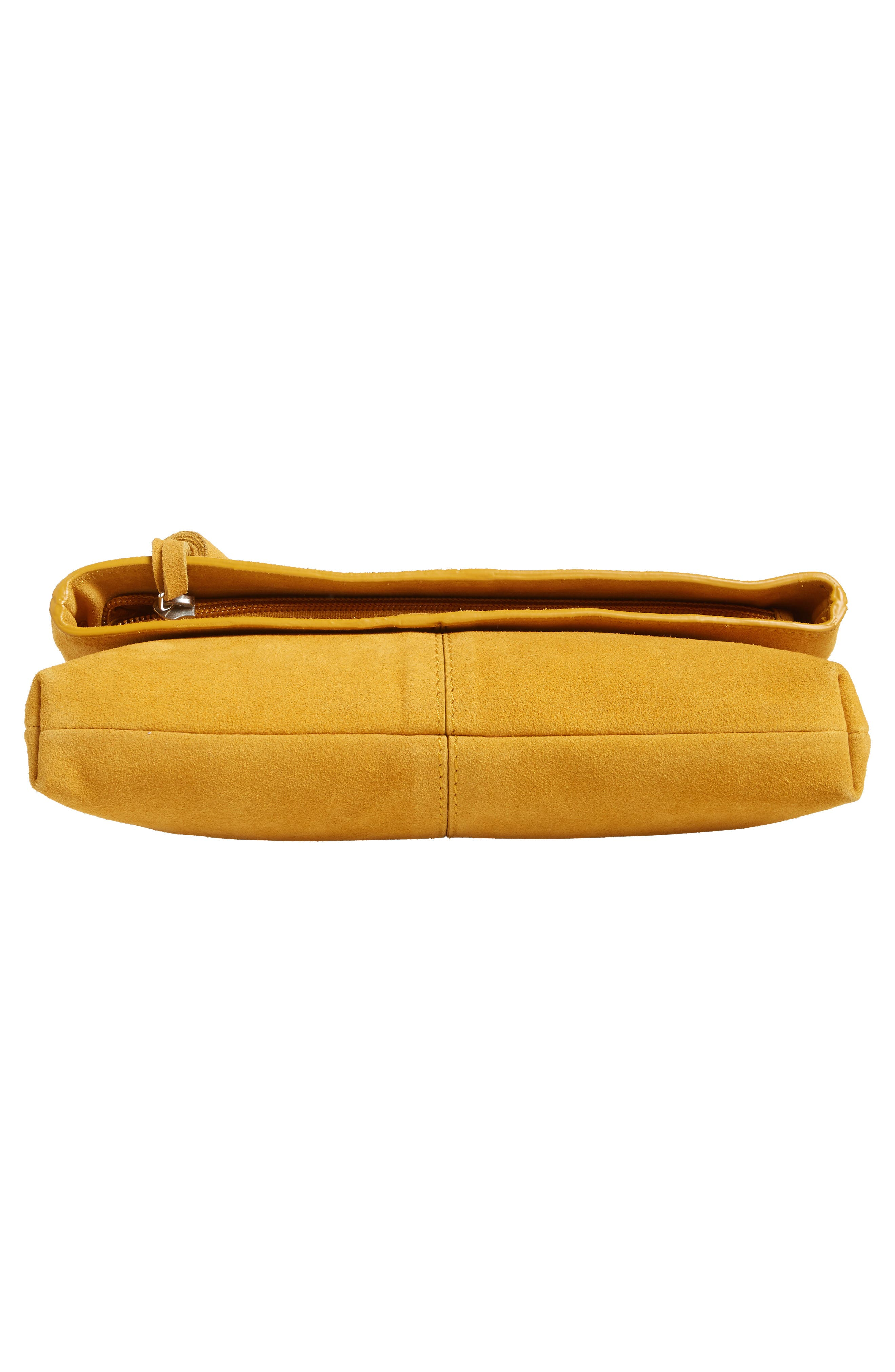 Suede Clutch,                             Alternate thumbnail 4, color,                             Mustard