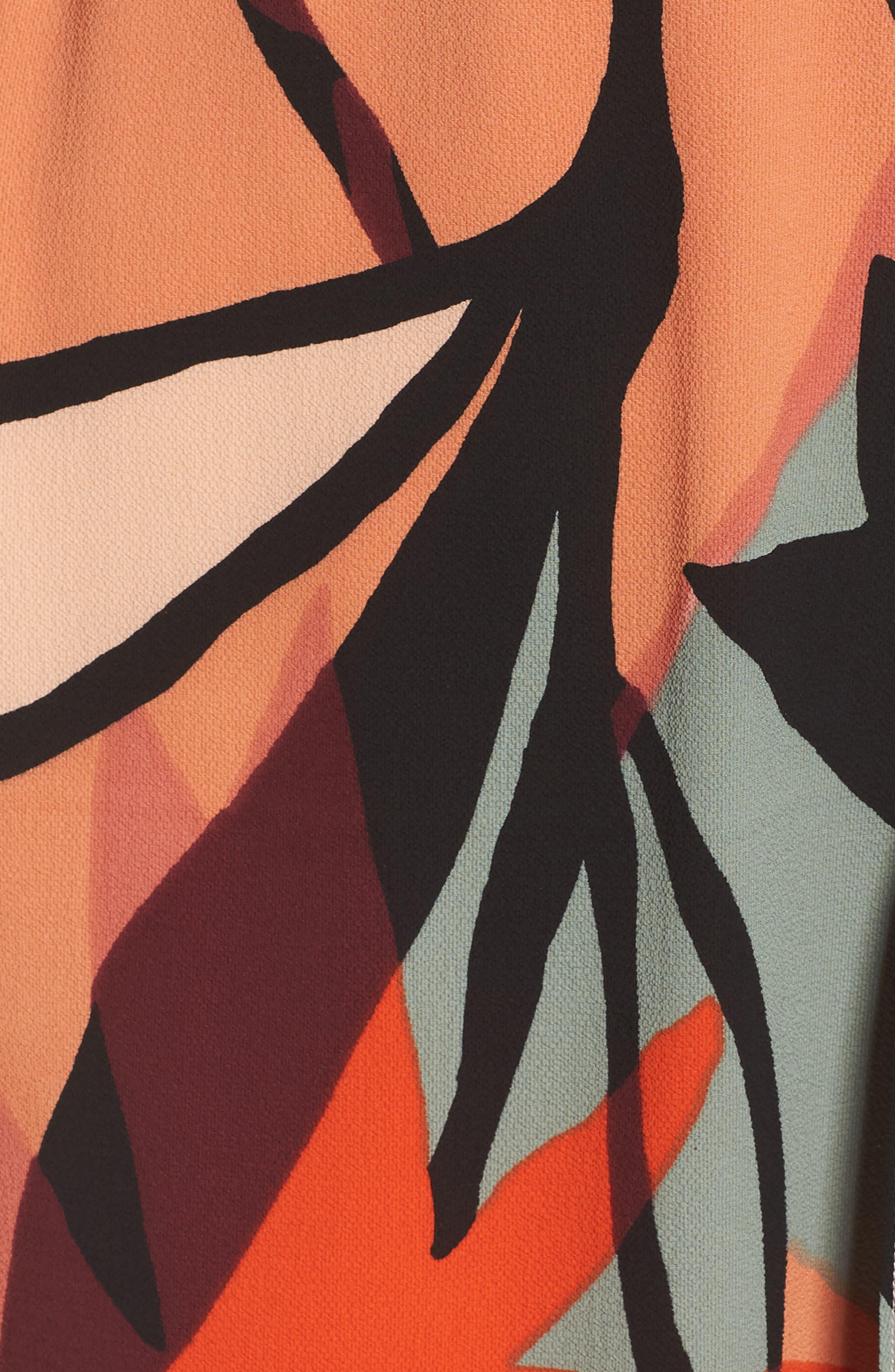 Off the Shoulder Bubble Crepe Dress,                             Alternate thumbnail 6, color,                             Peach / Black