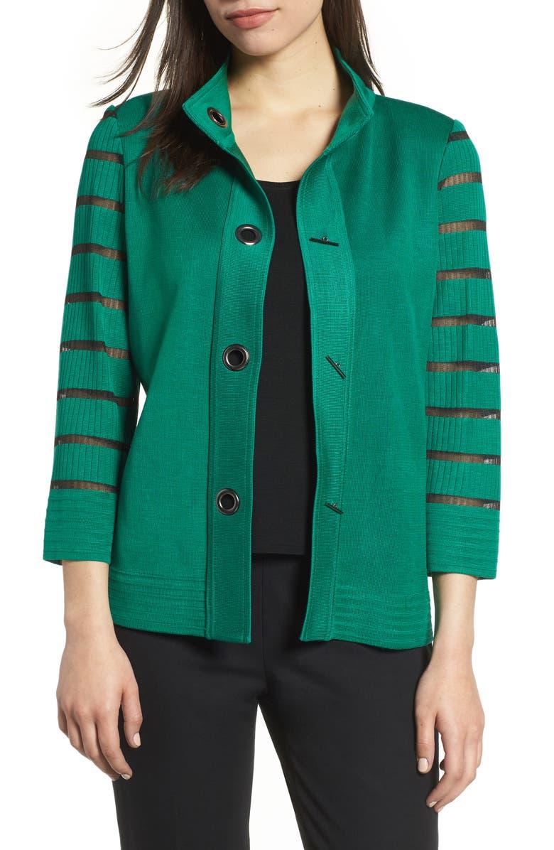 Stripe Sleeve Knit Jacket
