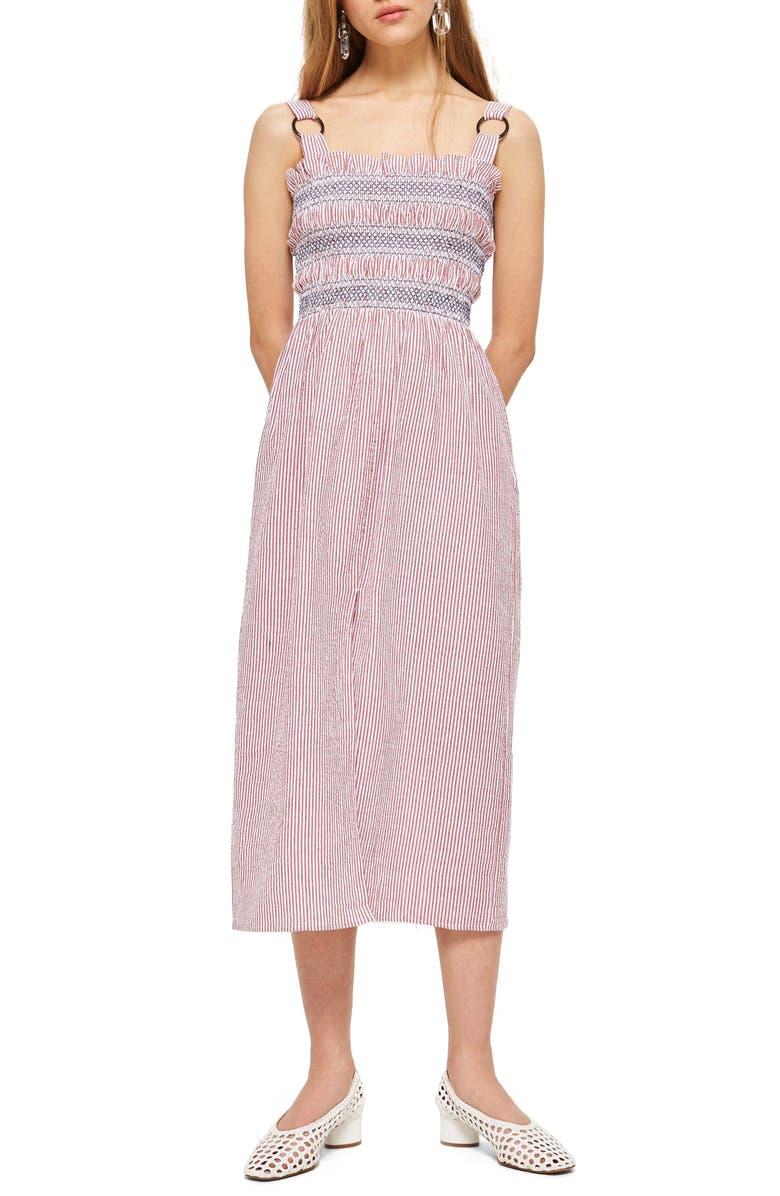 Seersucker Stripe Midi Dress