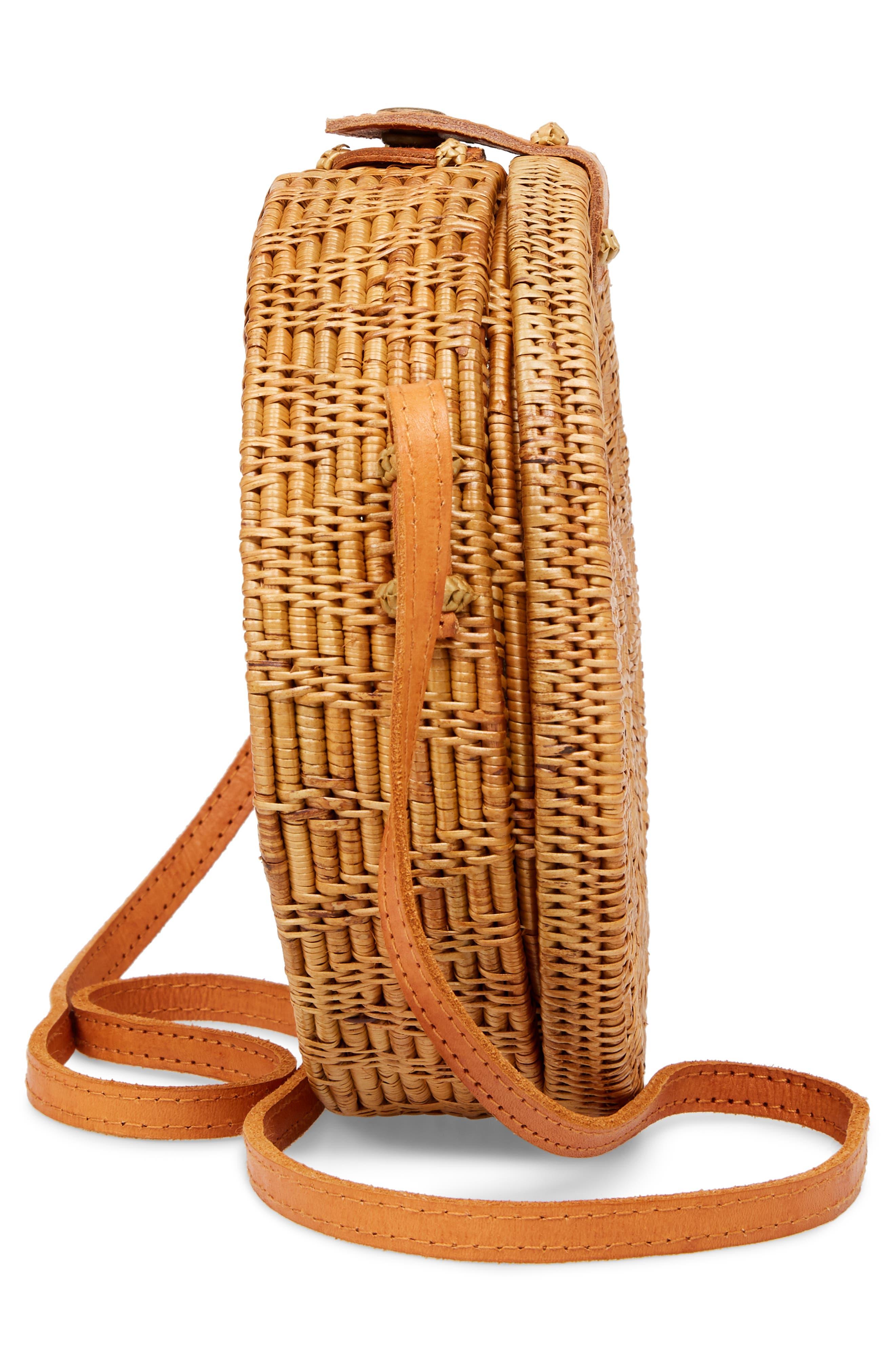 Woven Rattan Circle Basket Crossbody,                             Alternate thumbnail 5, color,                             Tan