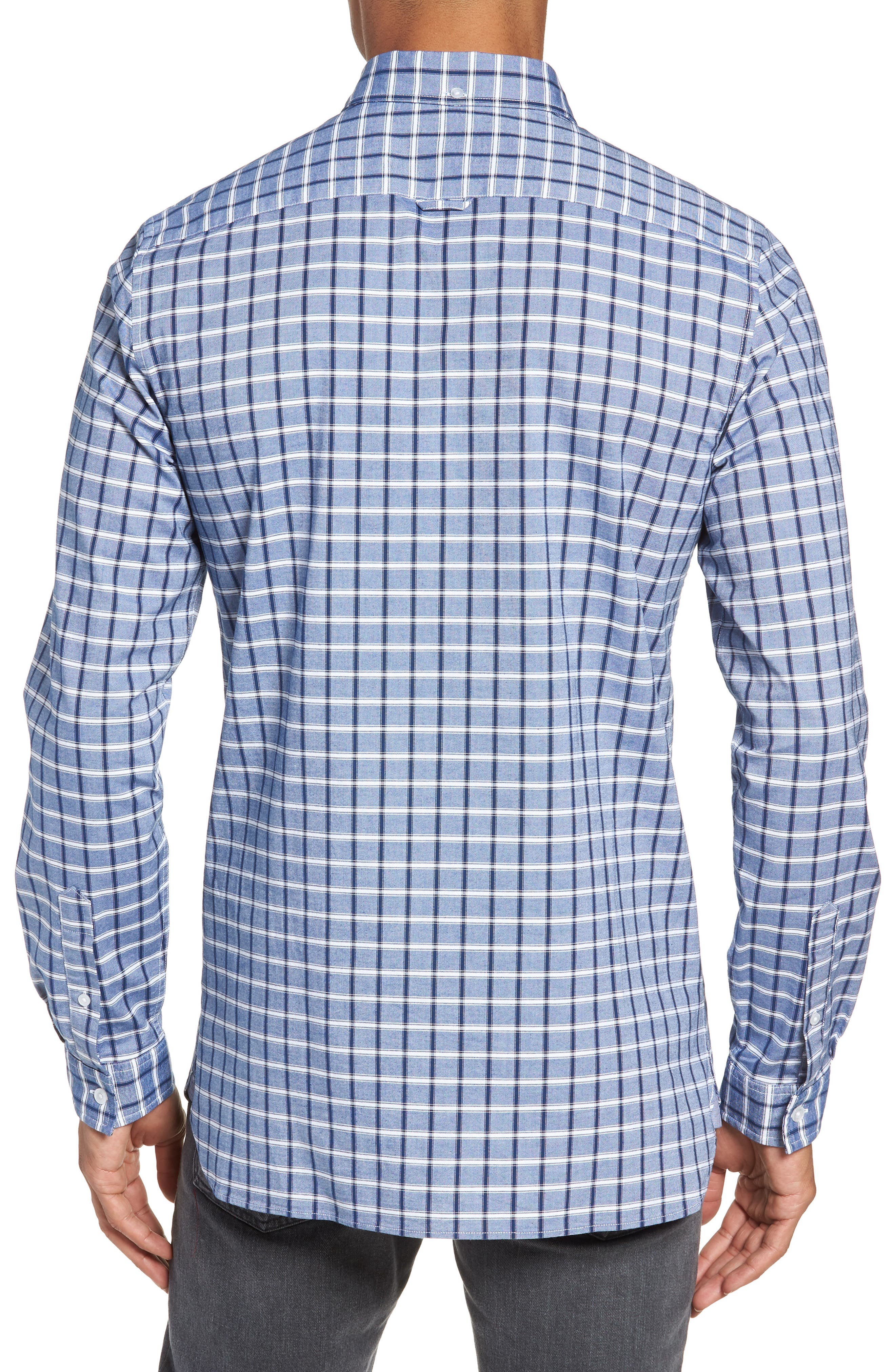 Slim Fit Check Oxford Sport Shirt,                             Alternate thumbnail 4, color,                             Navy Blue
