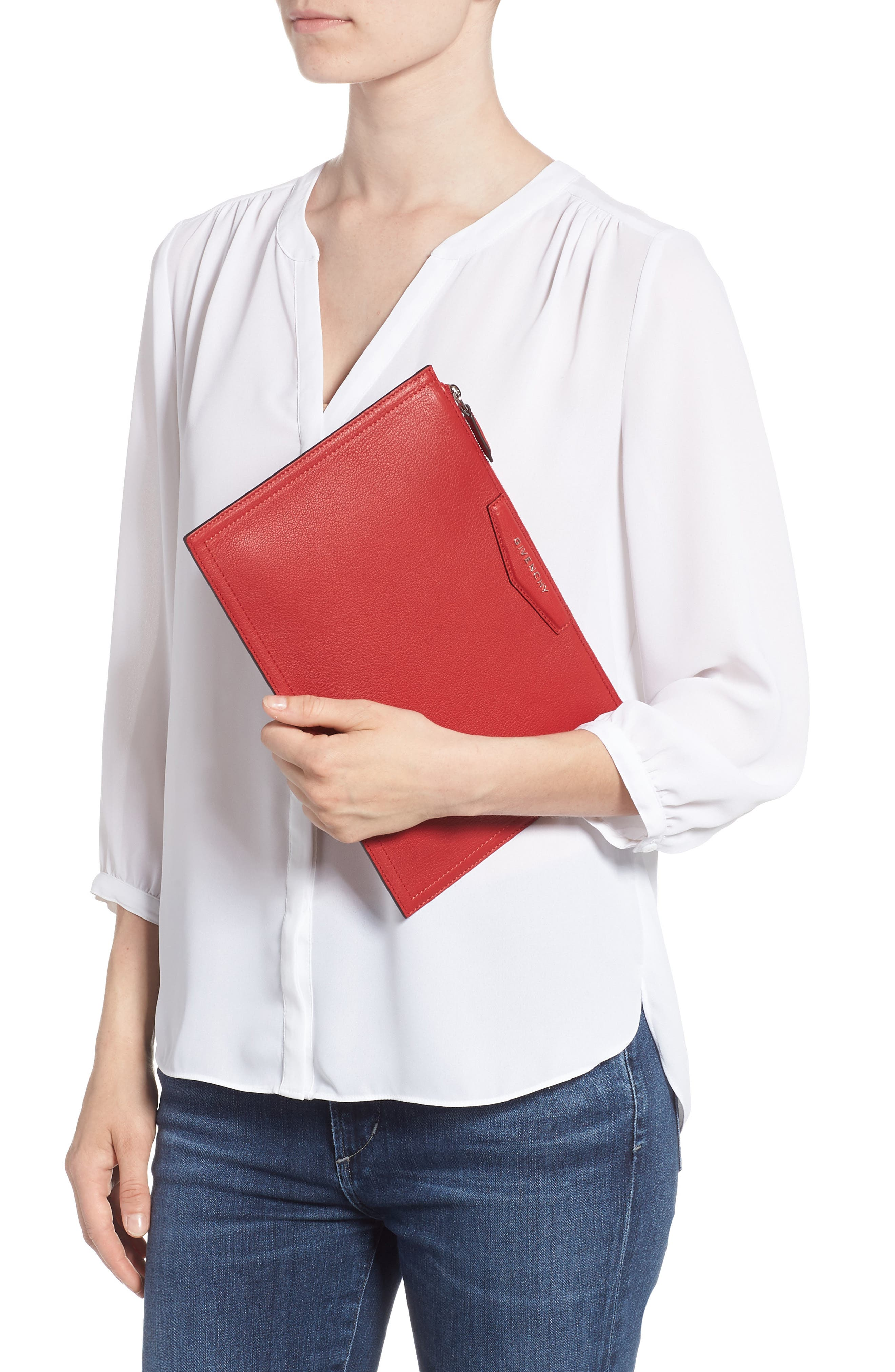 Medium Antigona Leather Pouch,                             Alternate thumbnail 2, color,                             Bright Red