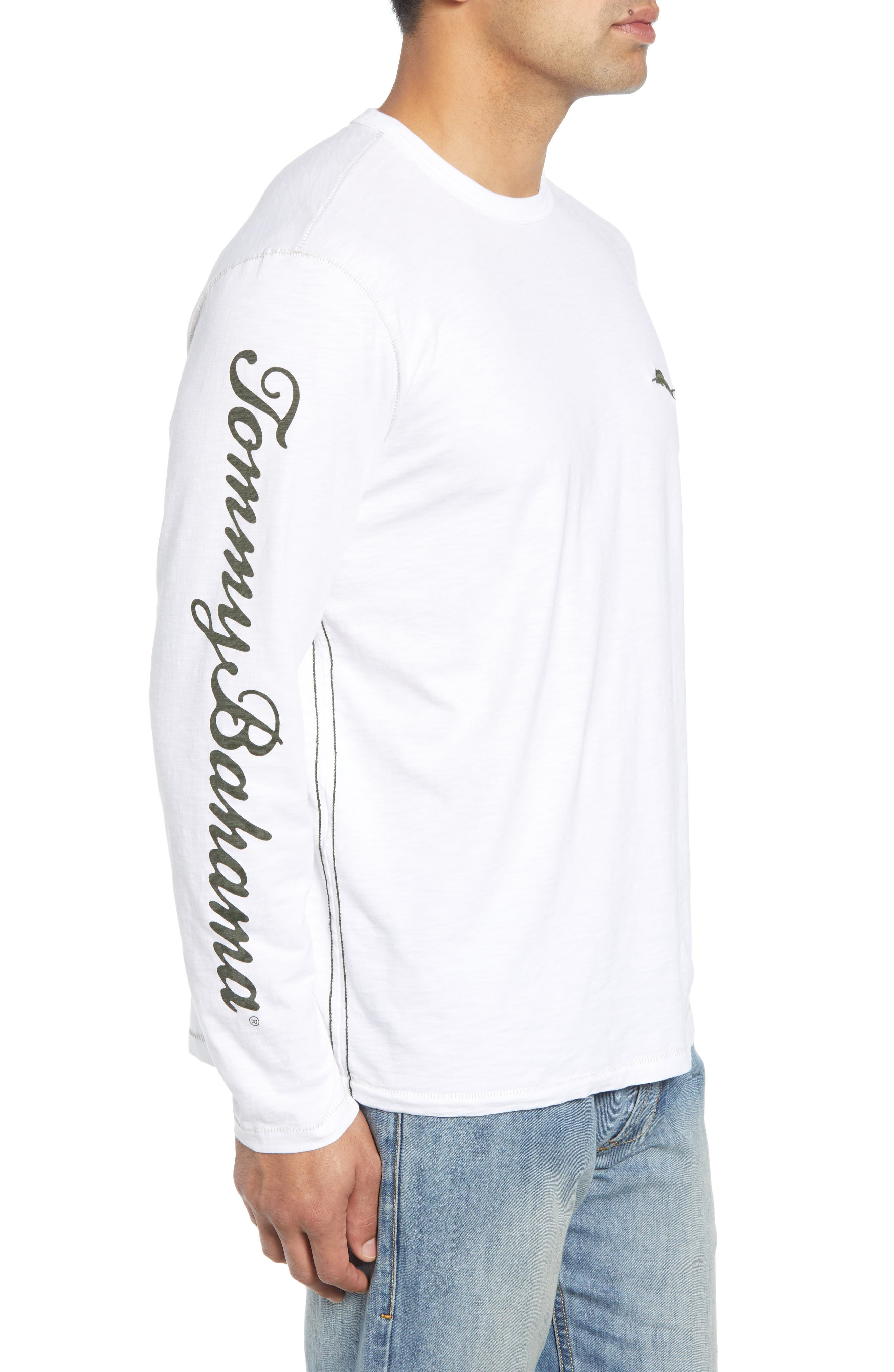 Palm Billboard Marlin Lux Long Sleeve T-Shirt,                             Alternate thumbnail 3, color,                             White