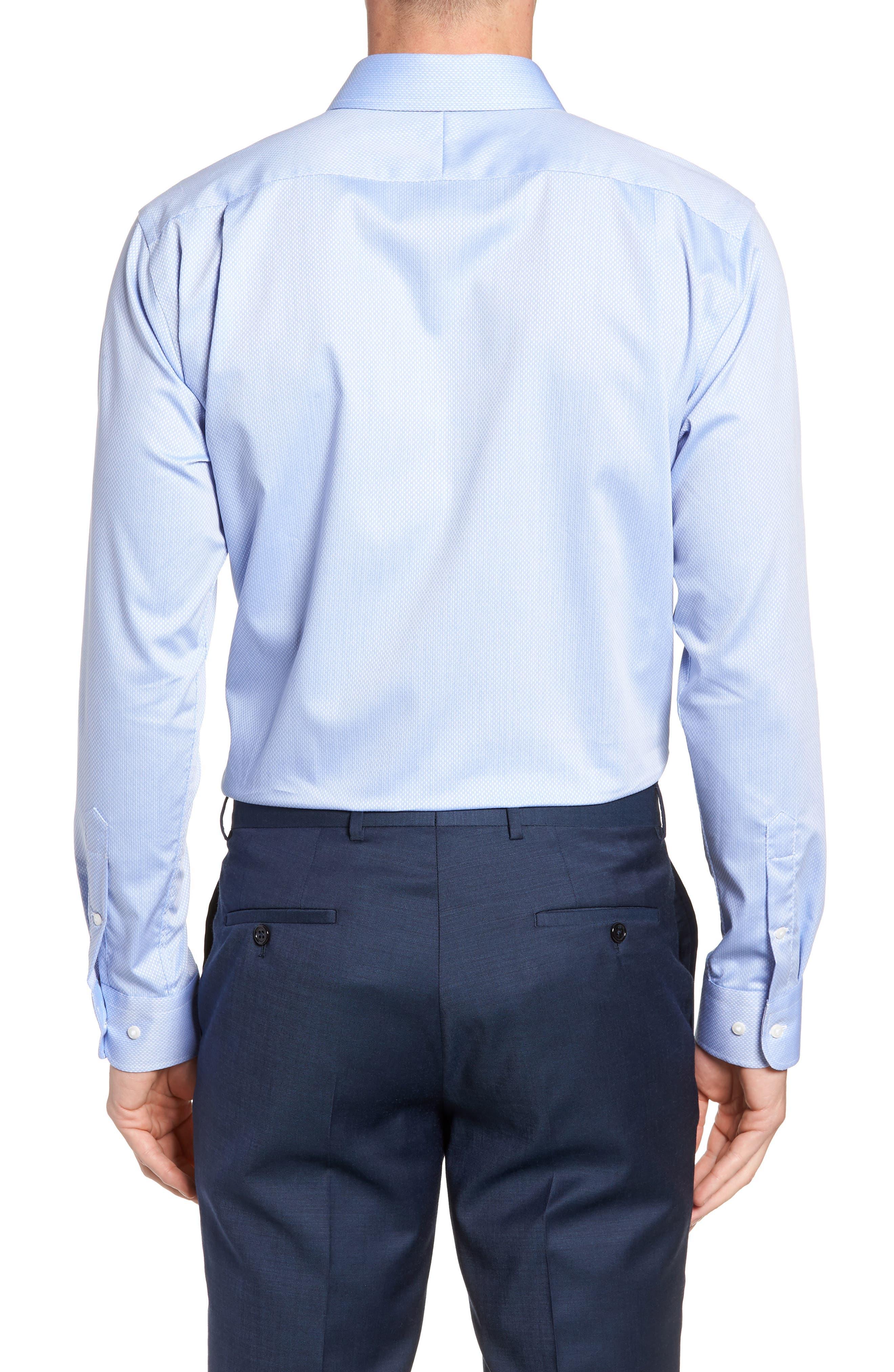 Trim Fit Solid Dress Shirt,                             Alternate thumbnail 3, color,                             Blue Azurite