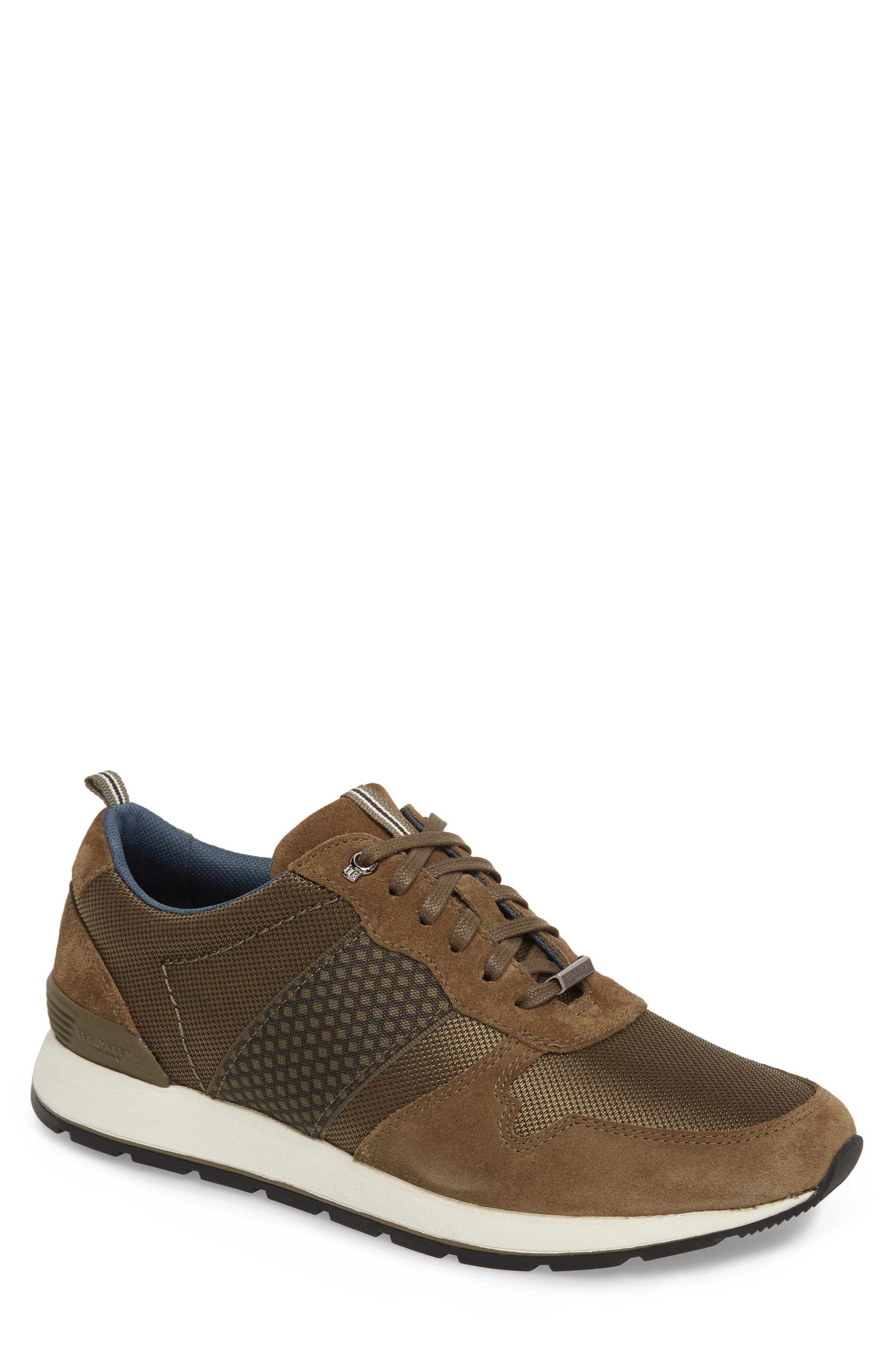 Hebey Lace-Up Sneaker,                         Main,                         color, Dark Green Textile