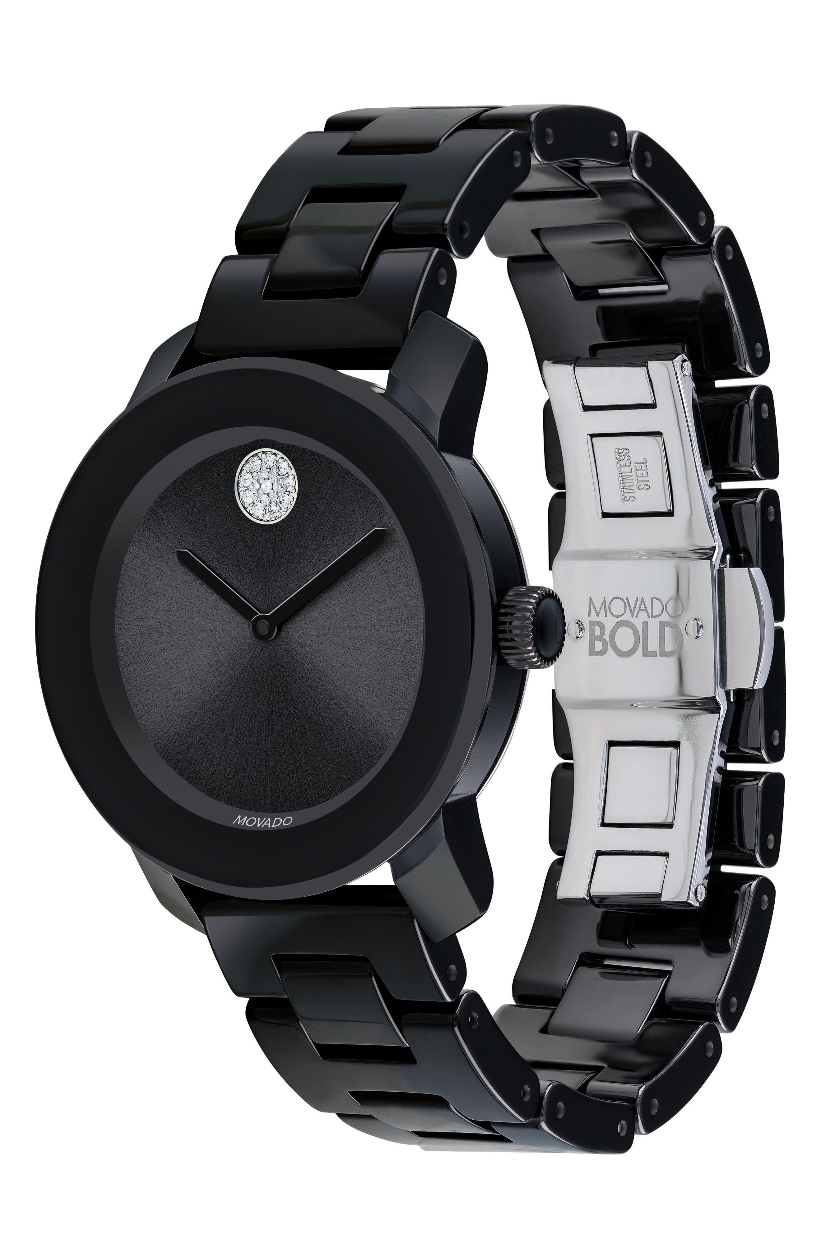 Bold Ceramic Bracelet Watch, 36mm,                             Alternate thumbnail 3, color,                             Black