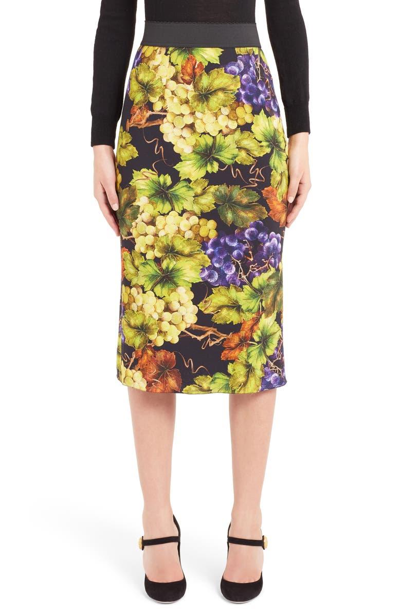 Grape Print Pencil Skirt