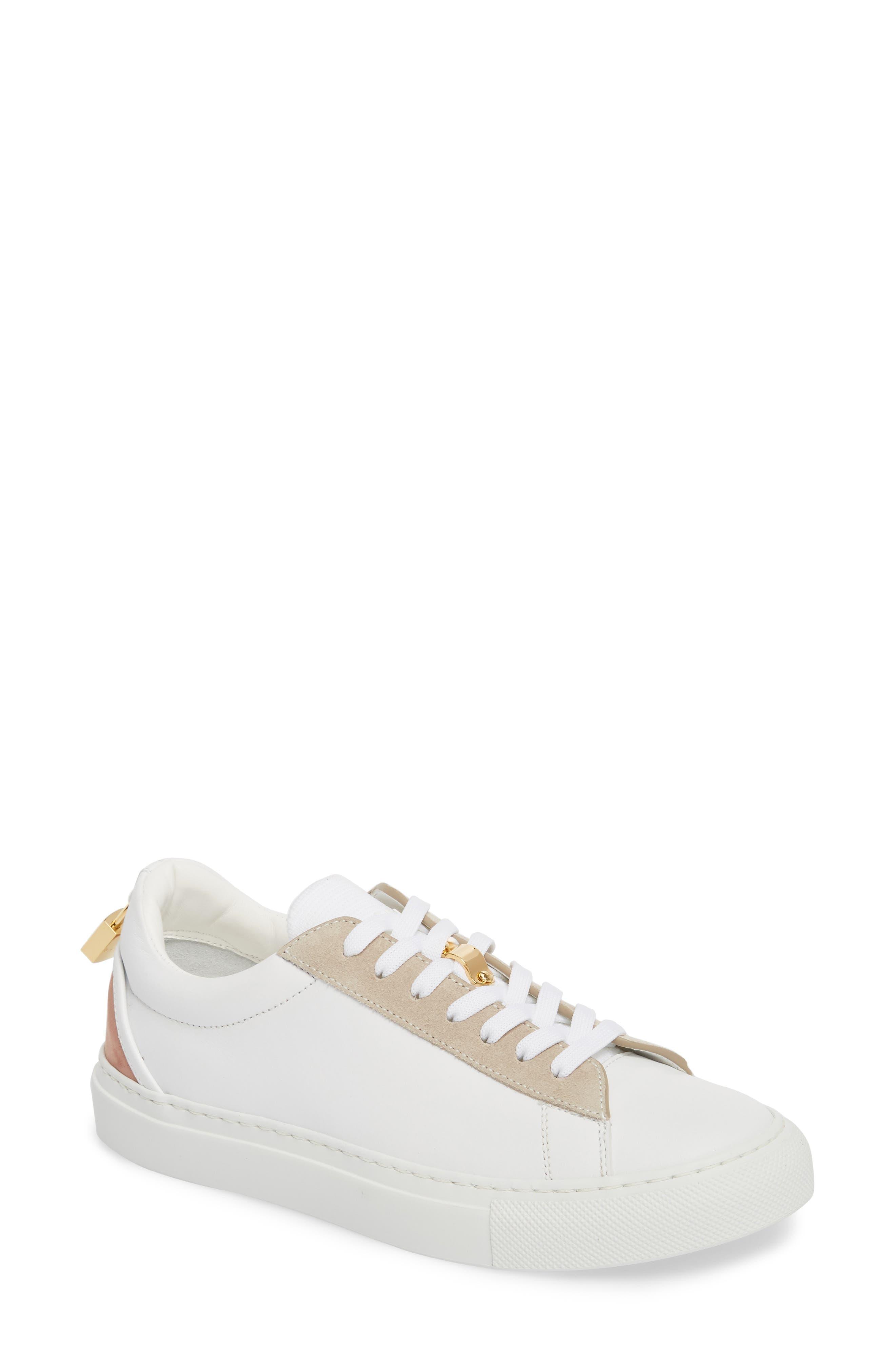 Tennis Lock Sneaker,                             Main thumbnail 1, color,                             White/ Dusty Pink