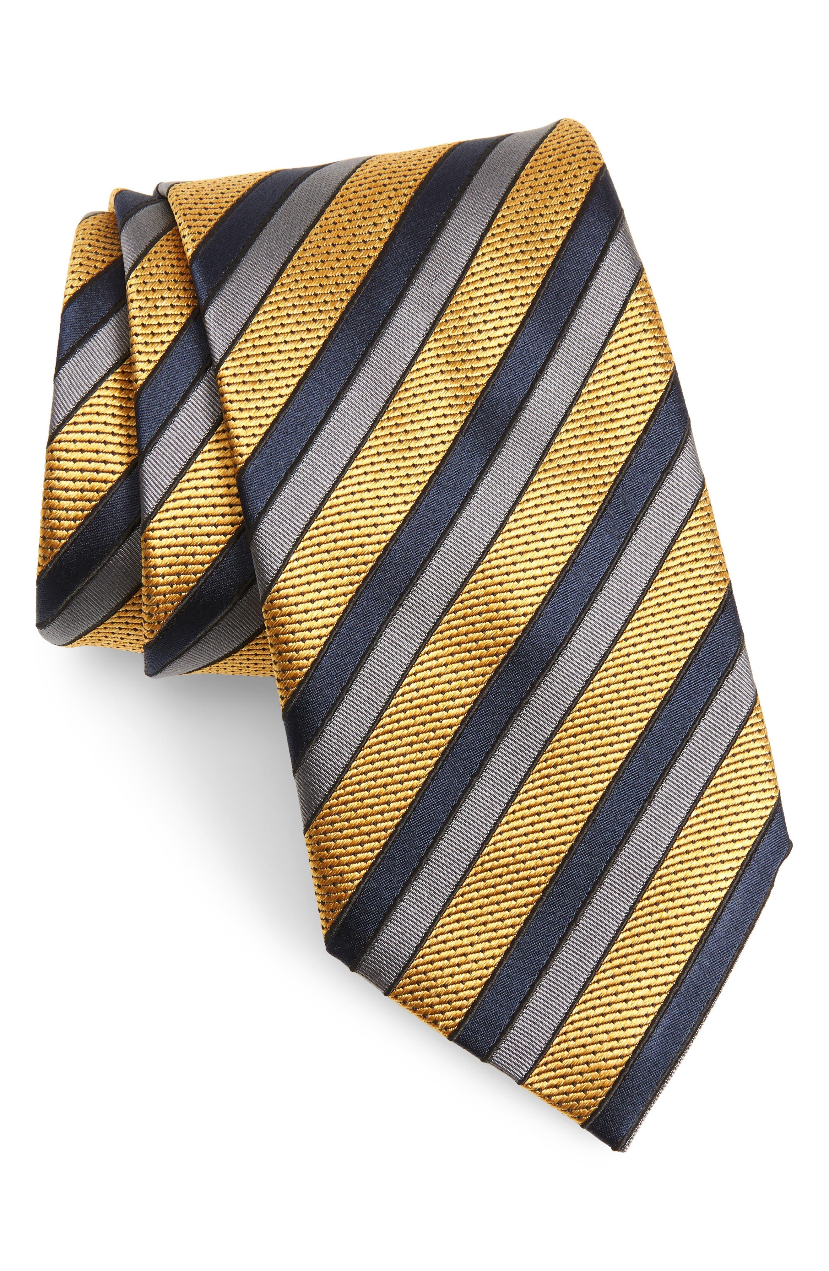 Jacquard Stripe Silk Tie,                         Main,                         color, Yellow