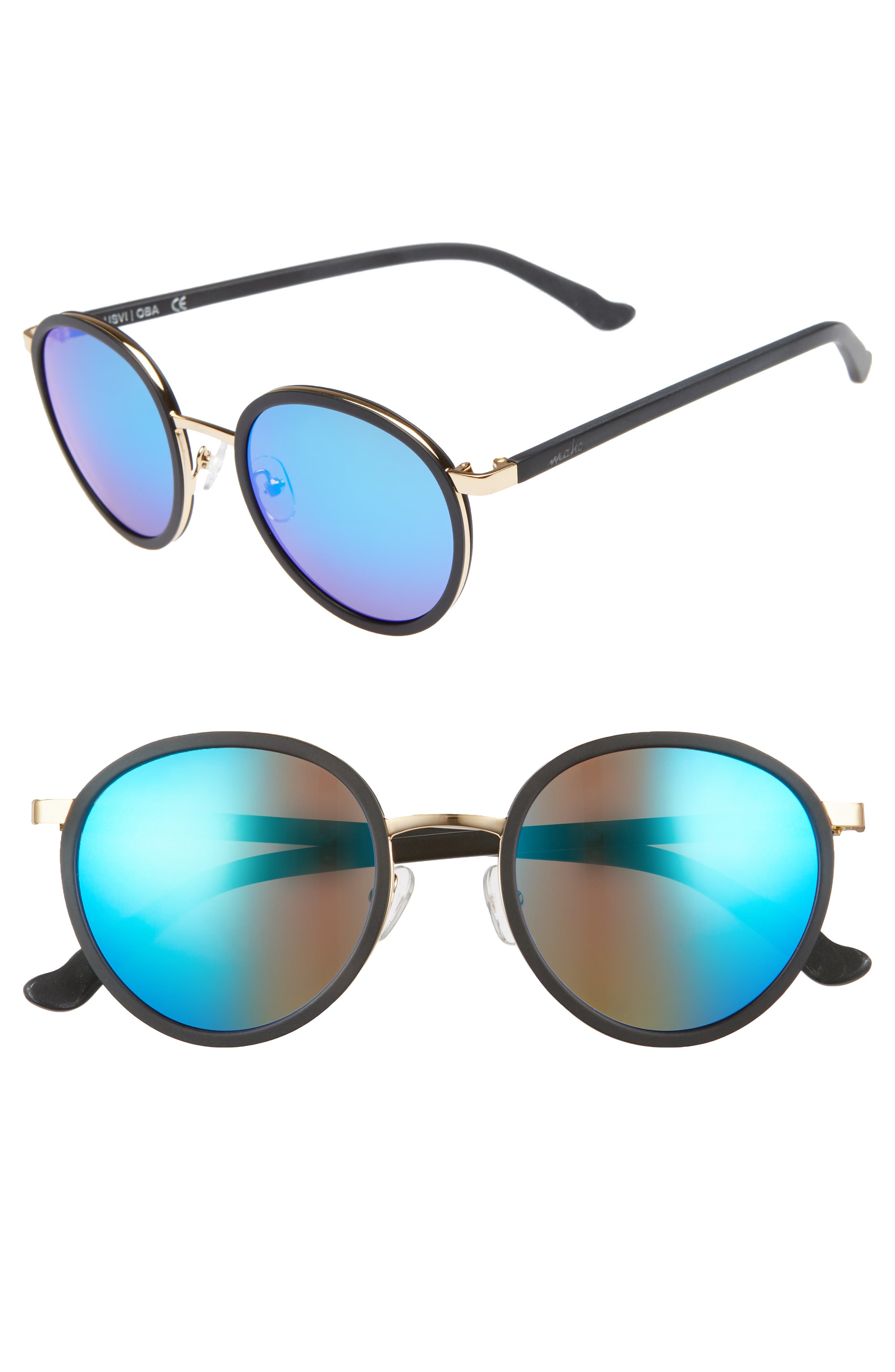 Cabo 50mm Polarized Round Sunglasses,                         Main,                         color, Charcoal/ Blue