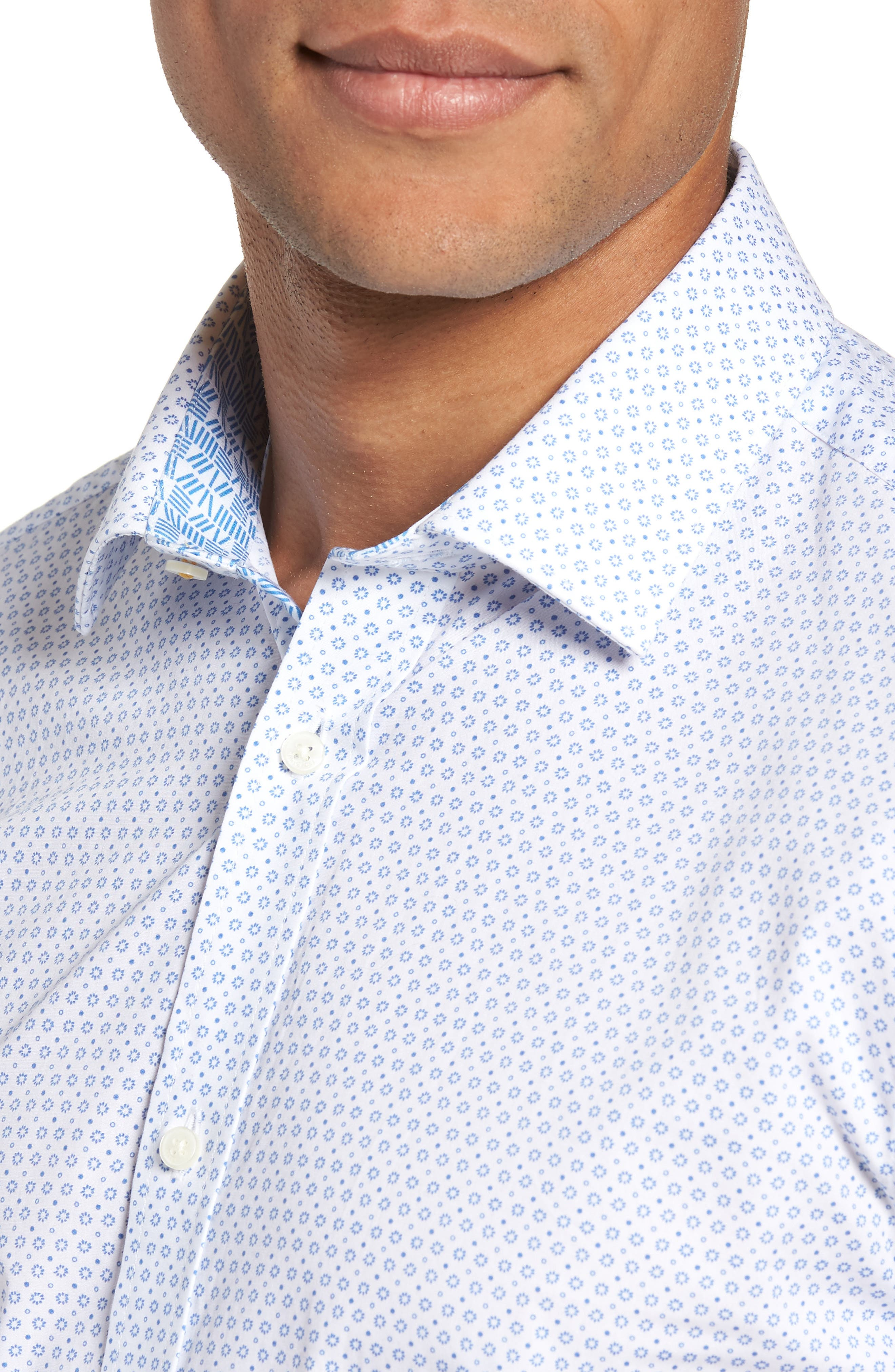 Trim Fit Geometric Dress Shirt,                             Alternate thumbnail 2, color,                             Blue