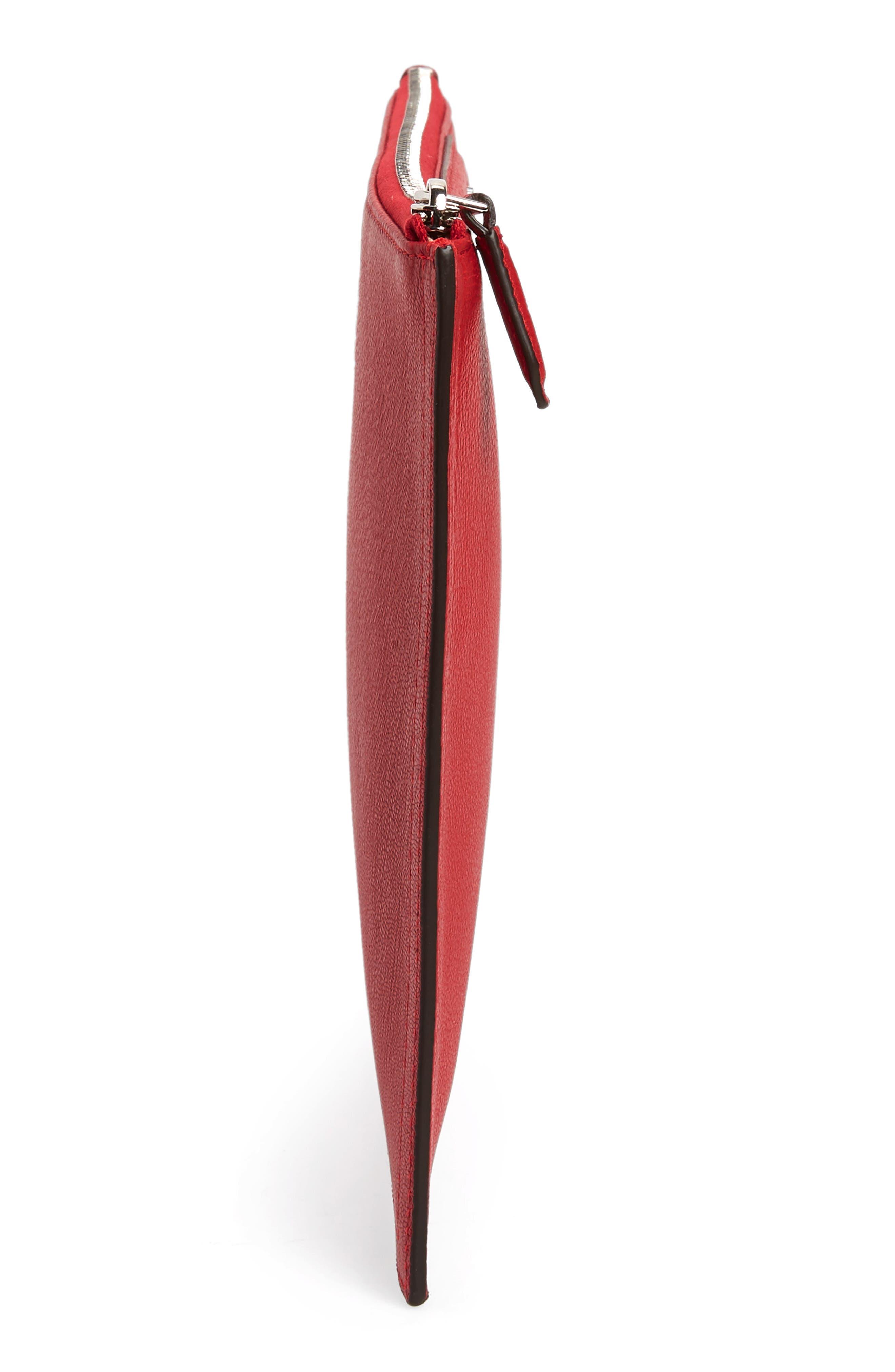 Medium Antigona Leather Pouch,                             Alternate thumbnail 5, color,                             Bright Red