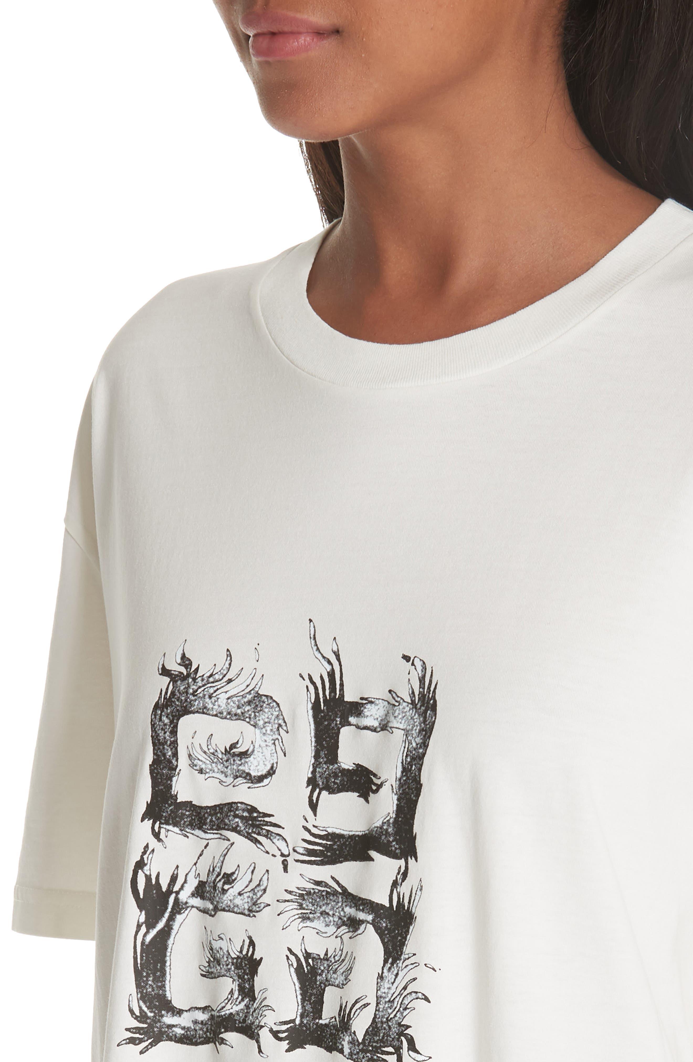 Flame Logo Oversize Tee,                             Alternate thumbnail 4, color,                             Off White