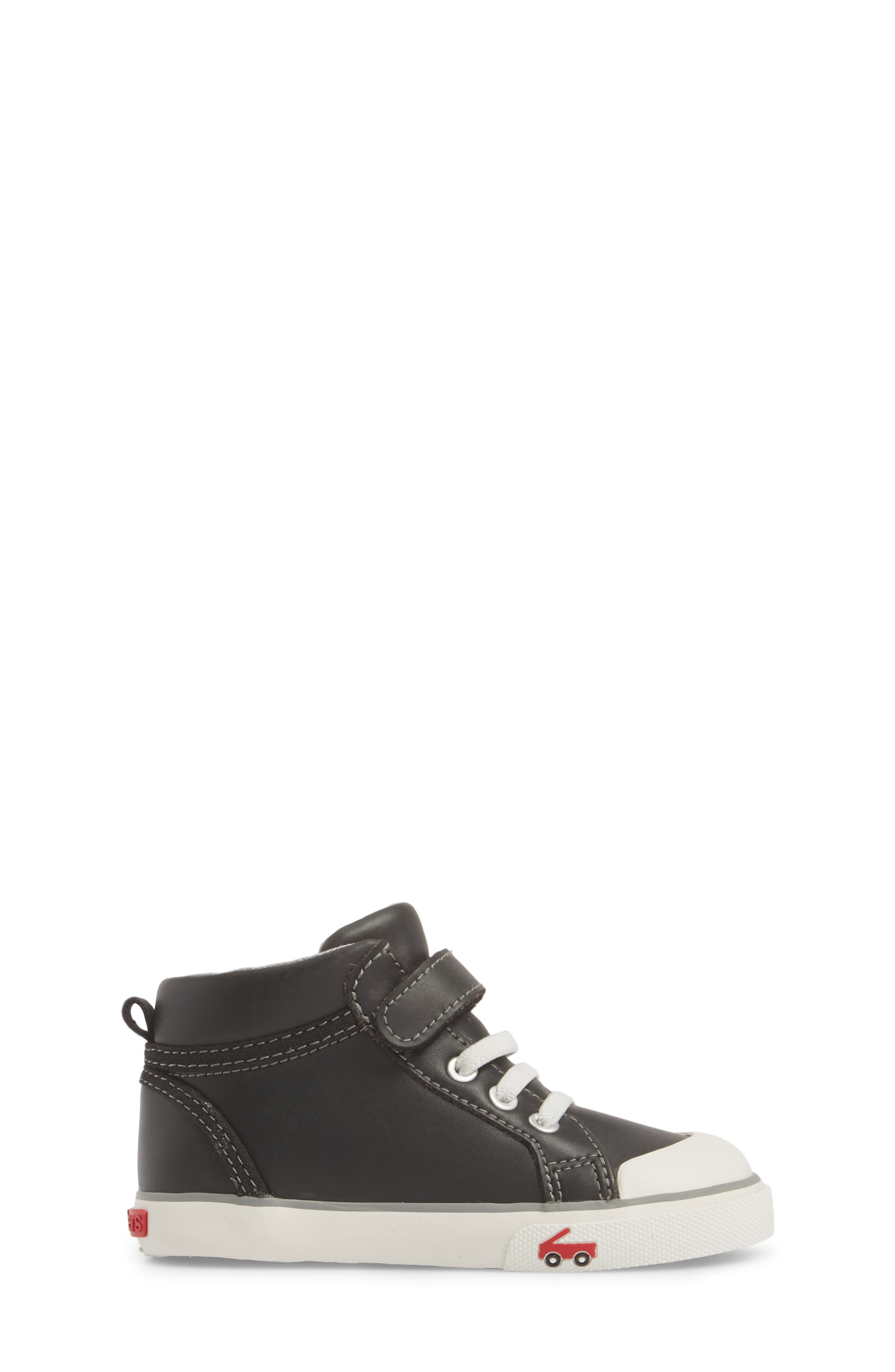 'Peyton' High Top Sneaker,                             Alternate thumbnail 3, color,                             Black Leather
