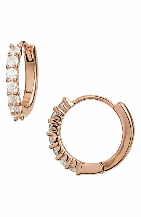 89bb87b379e1 Nordstrom Pavé Half Stone Huggie Hoop Earrings
