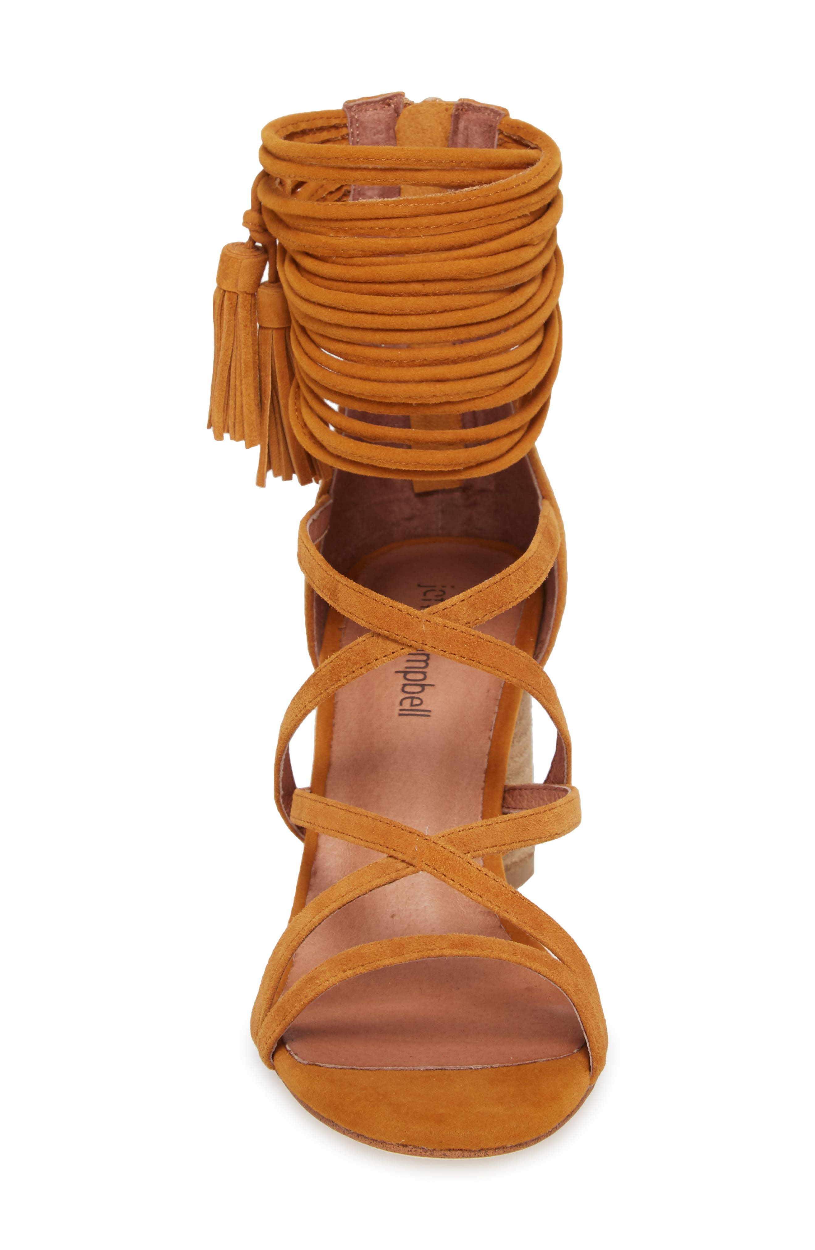 'Despina' Strappy Sandal,                             Alternate thumbnail 4, color,                             Mustard Suede