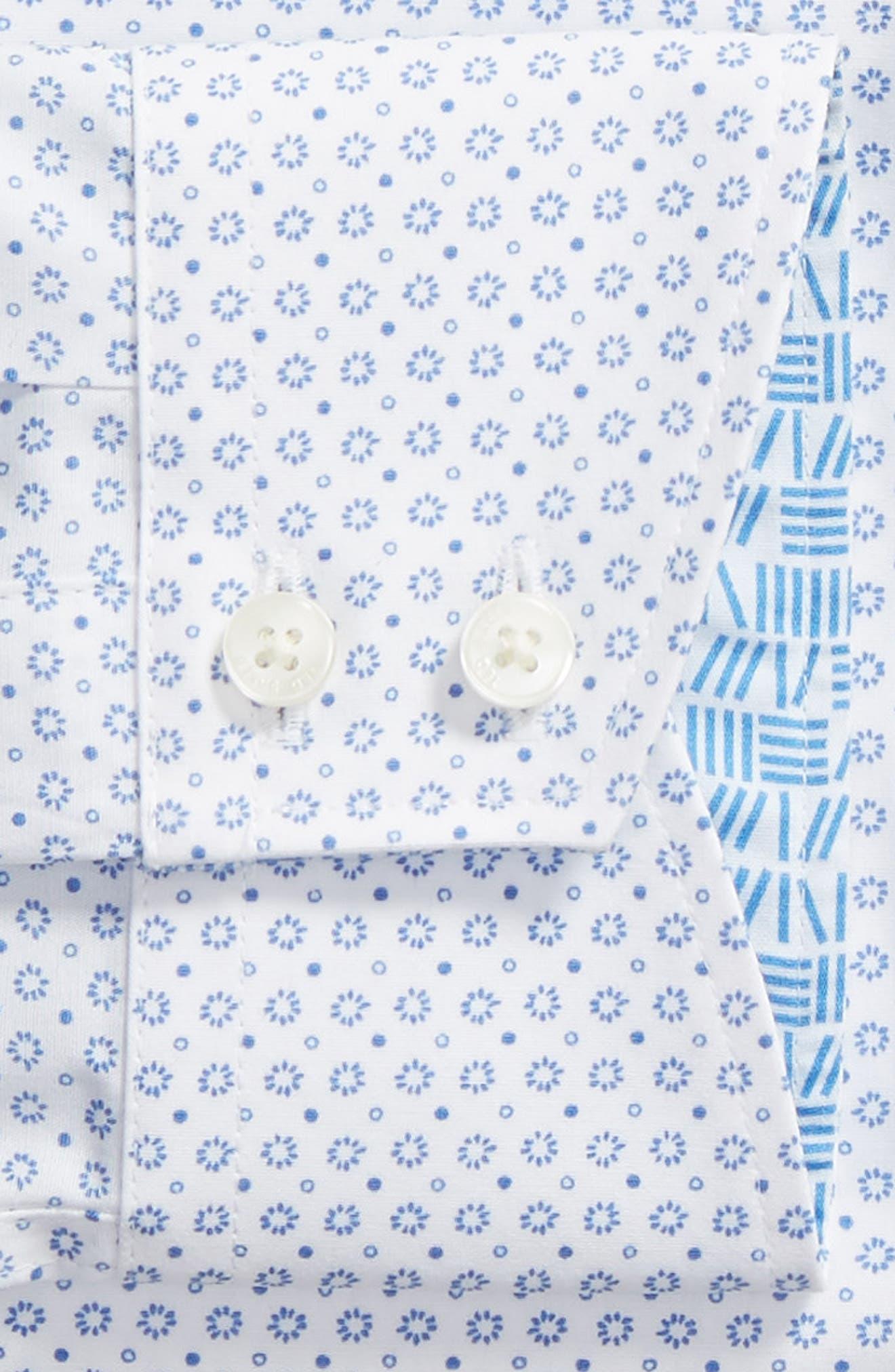Trim Fit Geometric Dress Shirt,                             Alternate thumbnail 5, color,                             Blue
