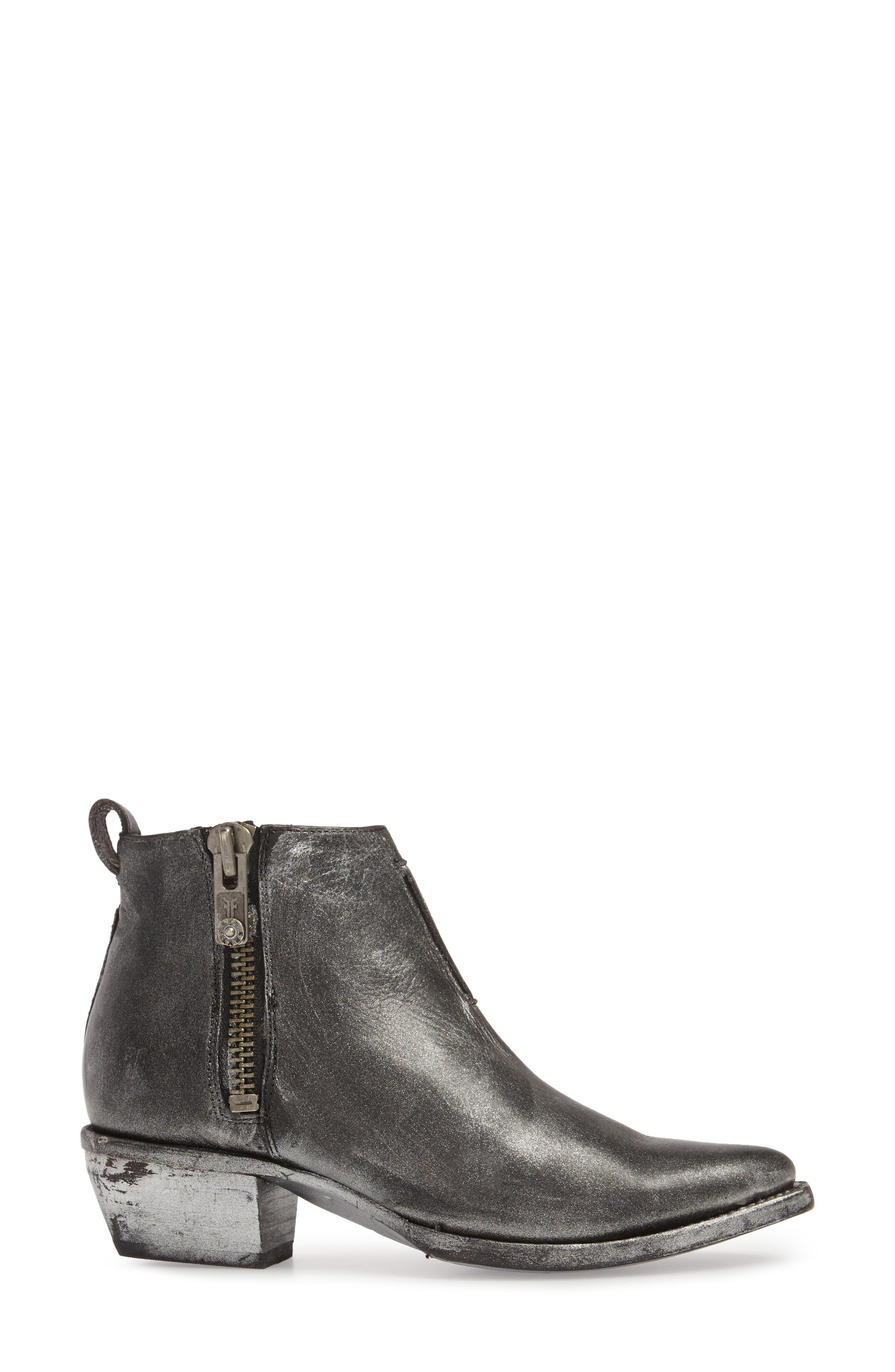 Sacha Moto Short Bootie,                             Alternate thumbnail 3, color,                             Black Metallic Leather